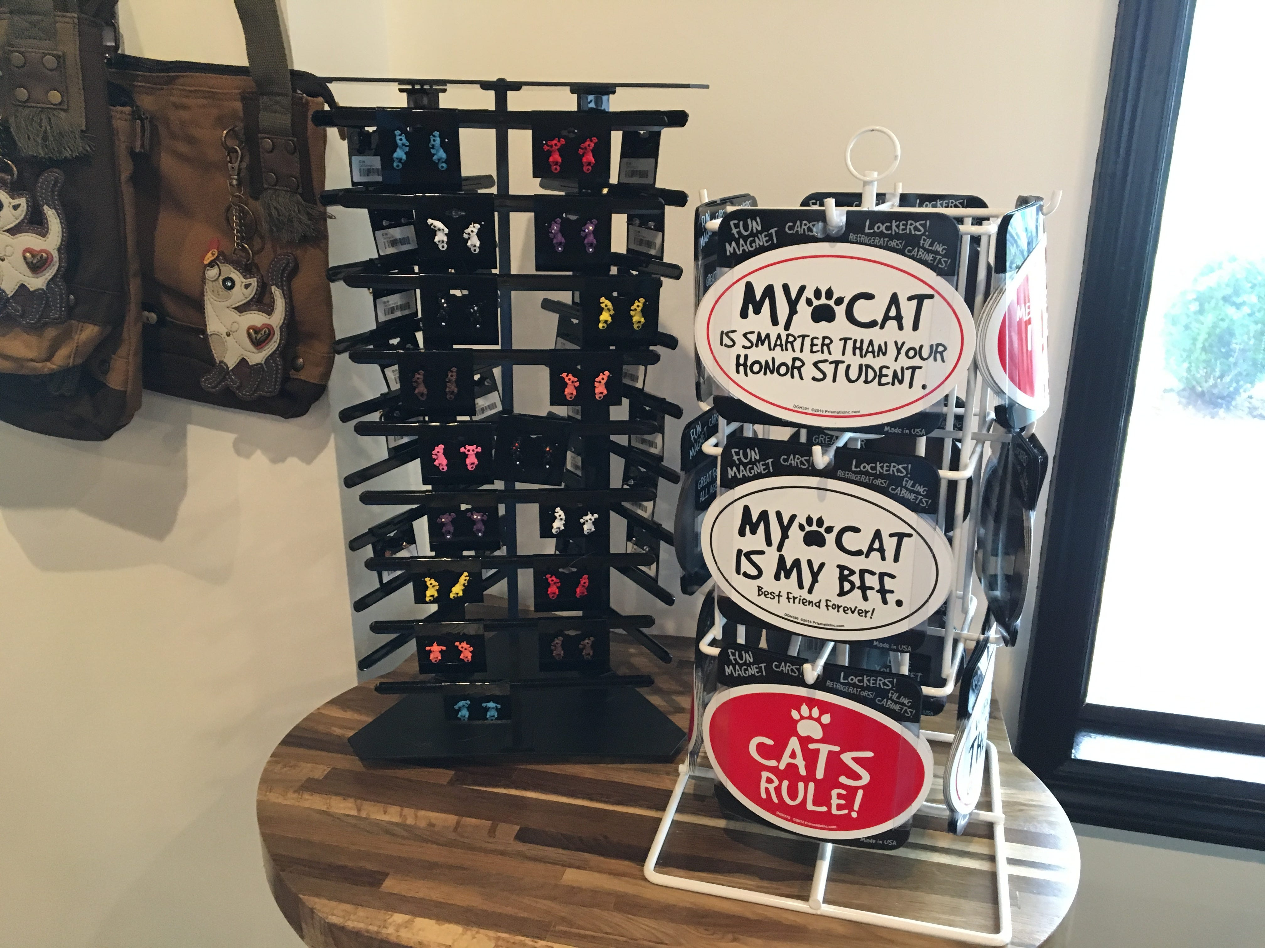 Catfeine Cat Cafe in Murfreesboro has a variety of merchandise for sale, including jewelry, bumper stickers and purses.