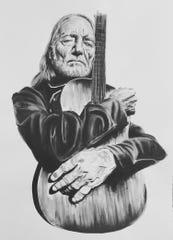A portrait of Willie Nelson by Nashville artist Sydney Clawson.