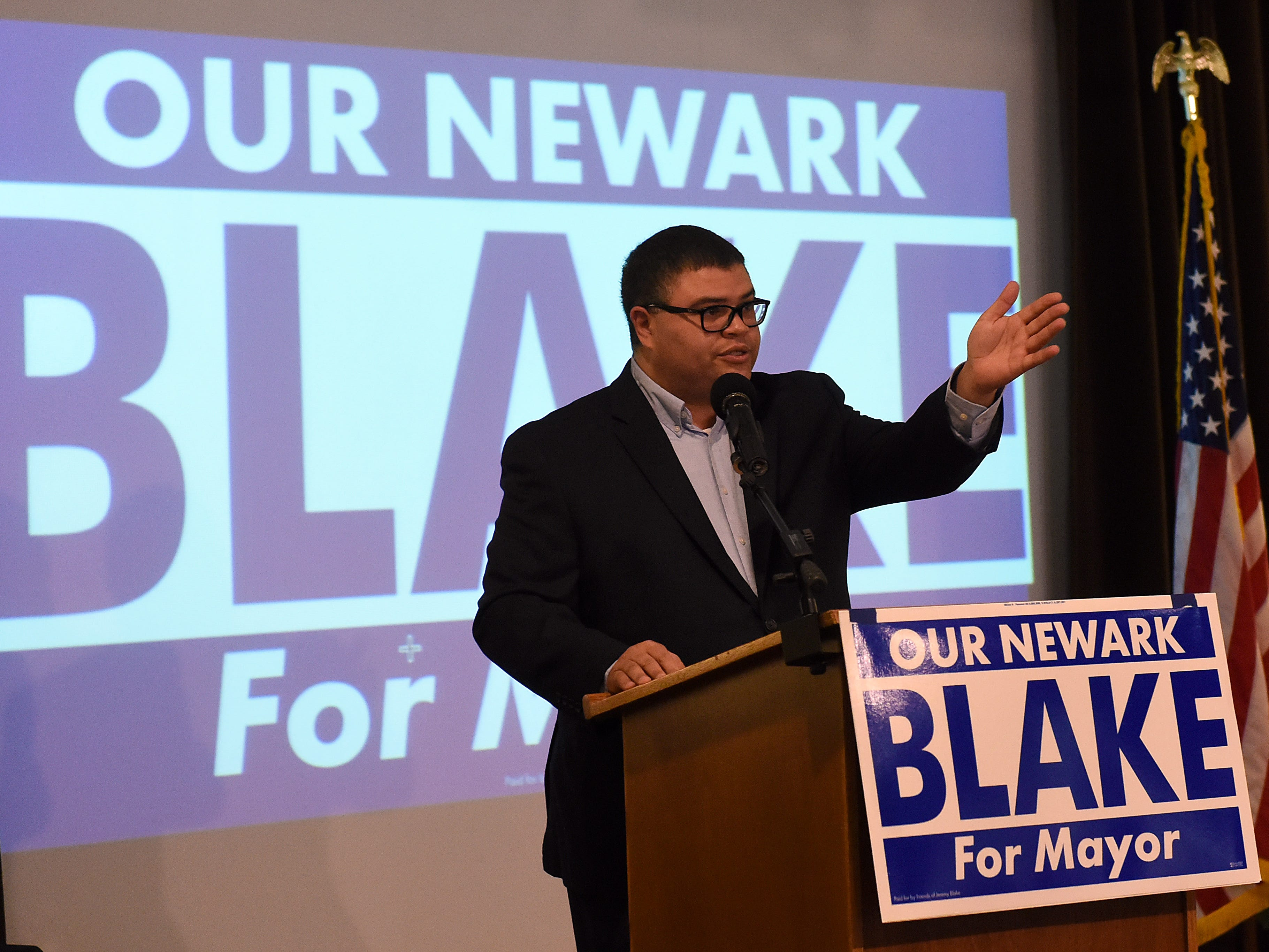 Newark City Councilman Jeremy Blake thanks his mentor and former Newark mayor Frank Stare during a campaign kickoff party Thursday at The Grove By the River.