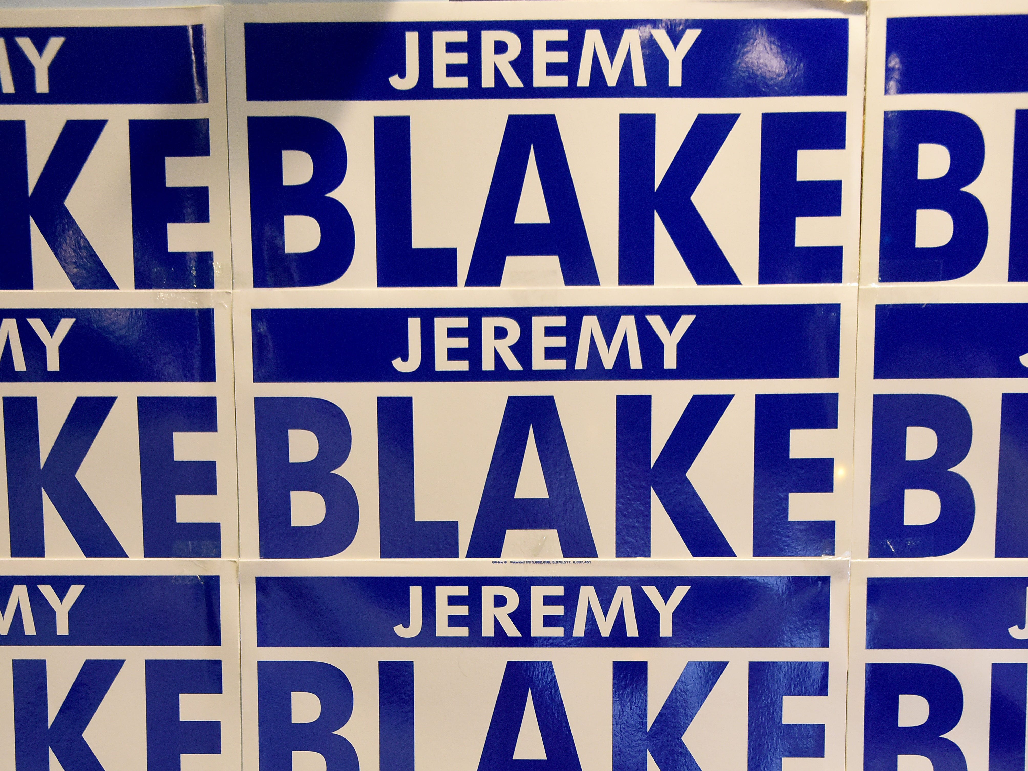 Campaign signs for Jeremy Blake during a campaign kickoff party  Thursday, April at The Grove By the River.