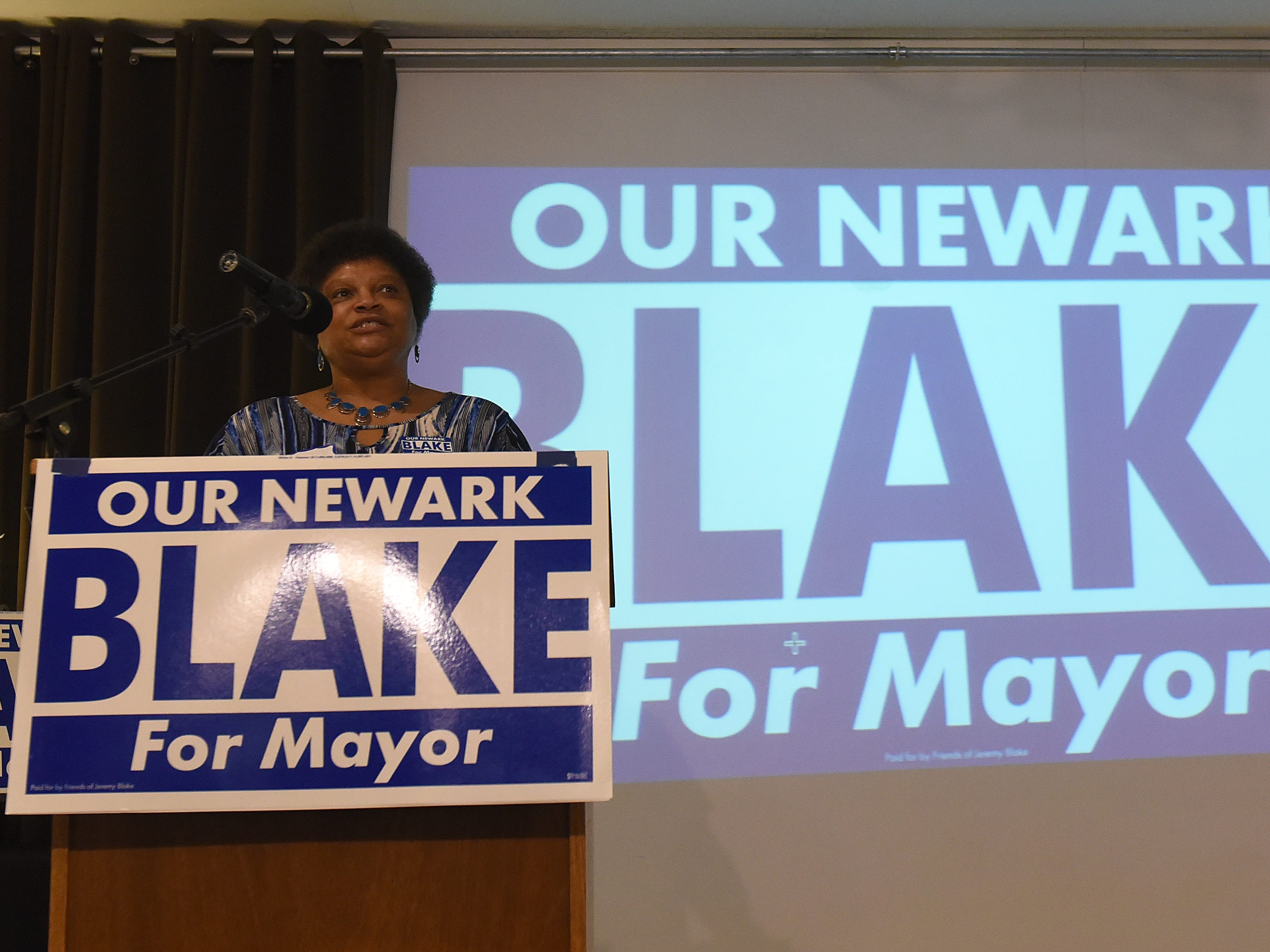 Desiree Blake introduces her son, Newark City Councilman Jeremy Blake, during a campaign kickoff event for his campaign for mayor on Thursday, April 4, 2019 at The Grove by the River.