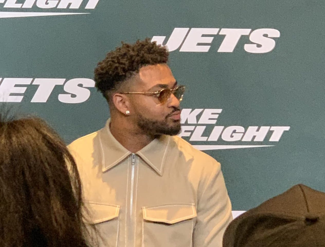 Jamal Adams was at the event when the New York Jets unveiled the team's new uniforms on Thursday, April 4, 2019.