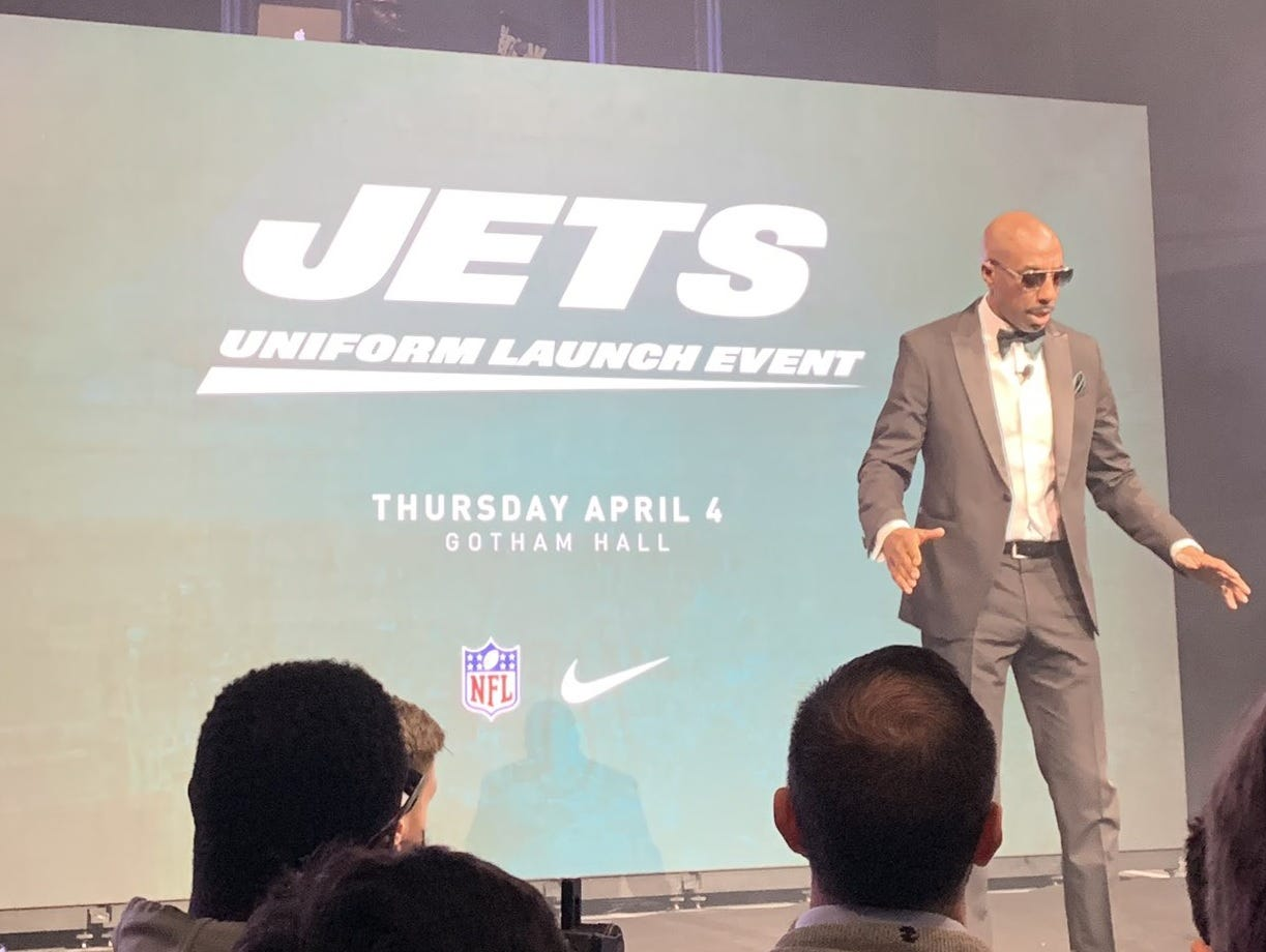 J.B. Smoove helped the New York Jets unveiled the team's new uniforms on Thursday, April 4, 2019.