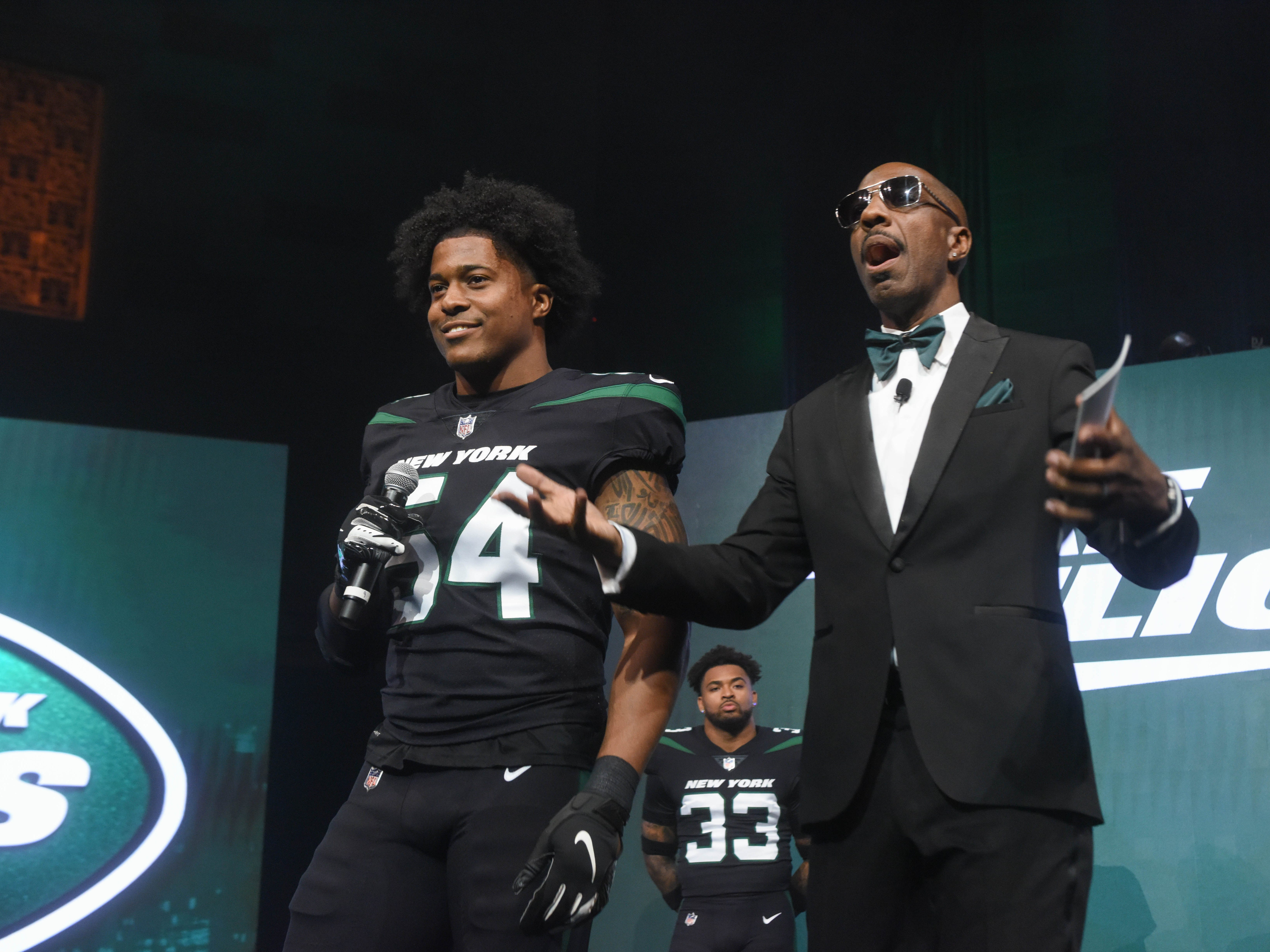 Avery Williamson (NY Jets) and J. B. Smoove (Comedian/Event Host). The NY Jets unveiled their new football uniforms with an event hosted by JB Smoove at Gotham Hall in New York. 04/05/2019