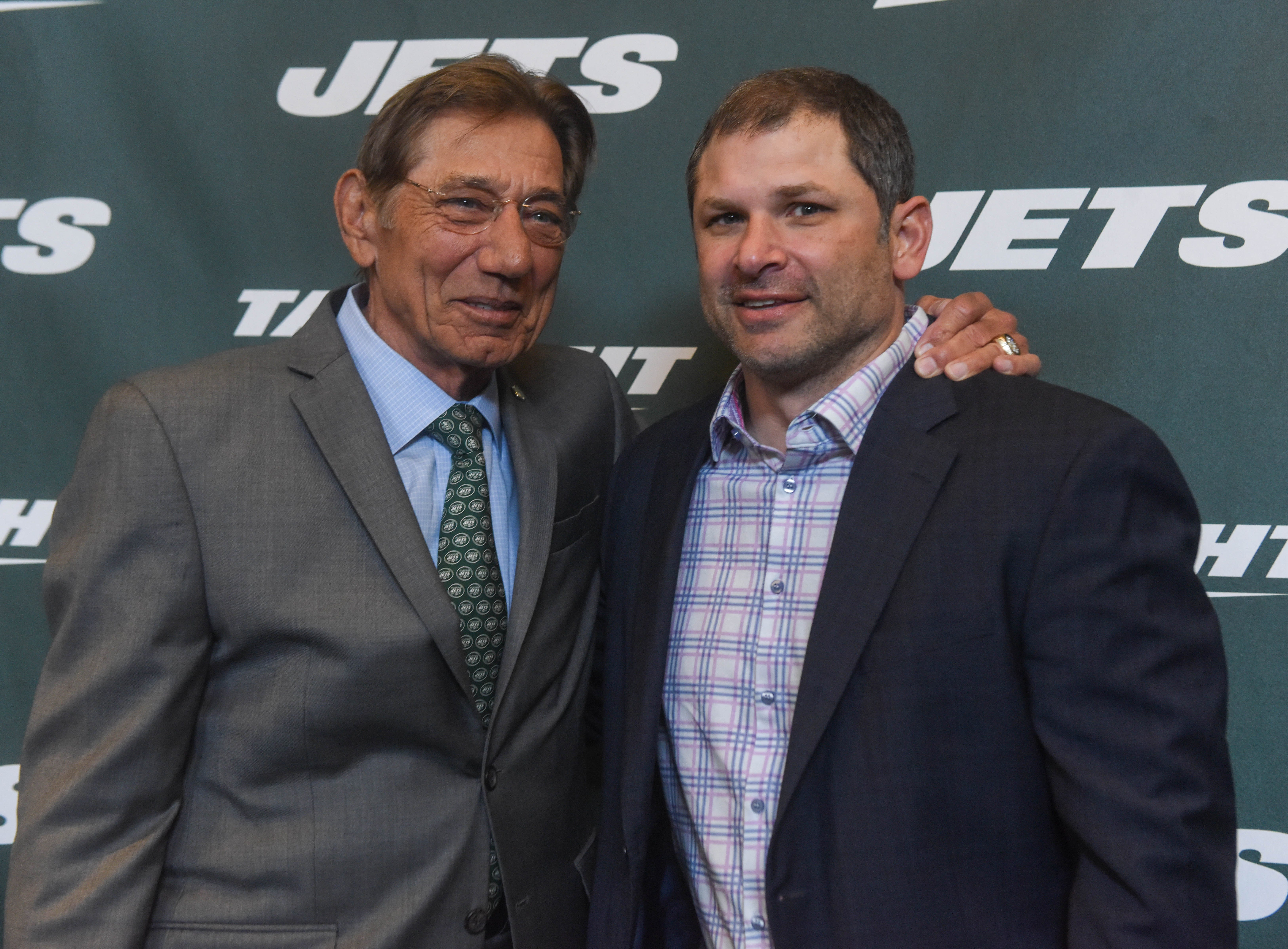 Joe Namath (NY Jets) and Wayne Chrebet (NY Jets). The NY Jets unveiled their new football uniforms with an event hosted by JB Smoove at Gotham Hall in New York. 04/05/2019