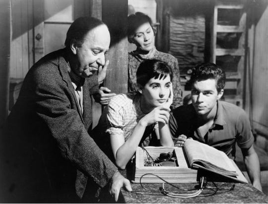 The Diary of Anne Frank (1959)Directed by George StevensShown from left: (front) Ed Wynn, Millie Perkins, Richard Beymer, (back) Gusti Huber