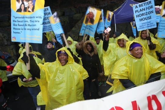 Hundreds of workers rallied outside the Horizon Housing complex on Jan. 29 during a three-day strike.