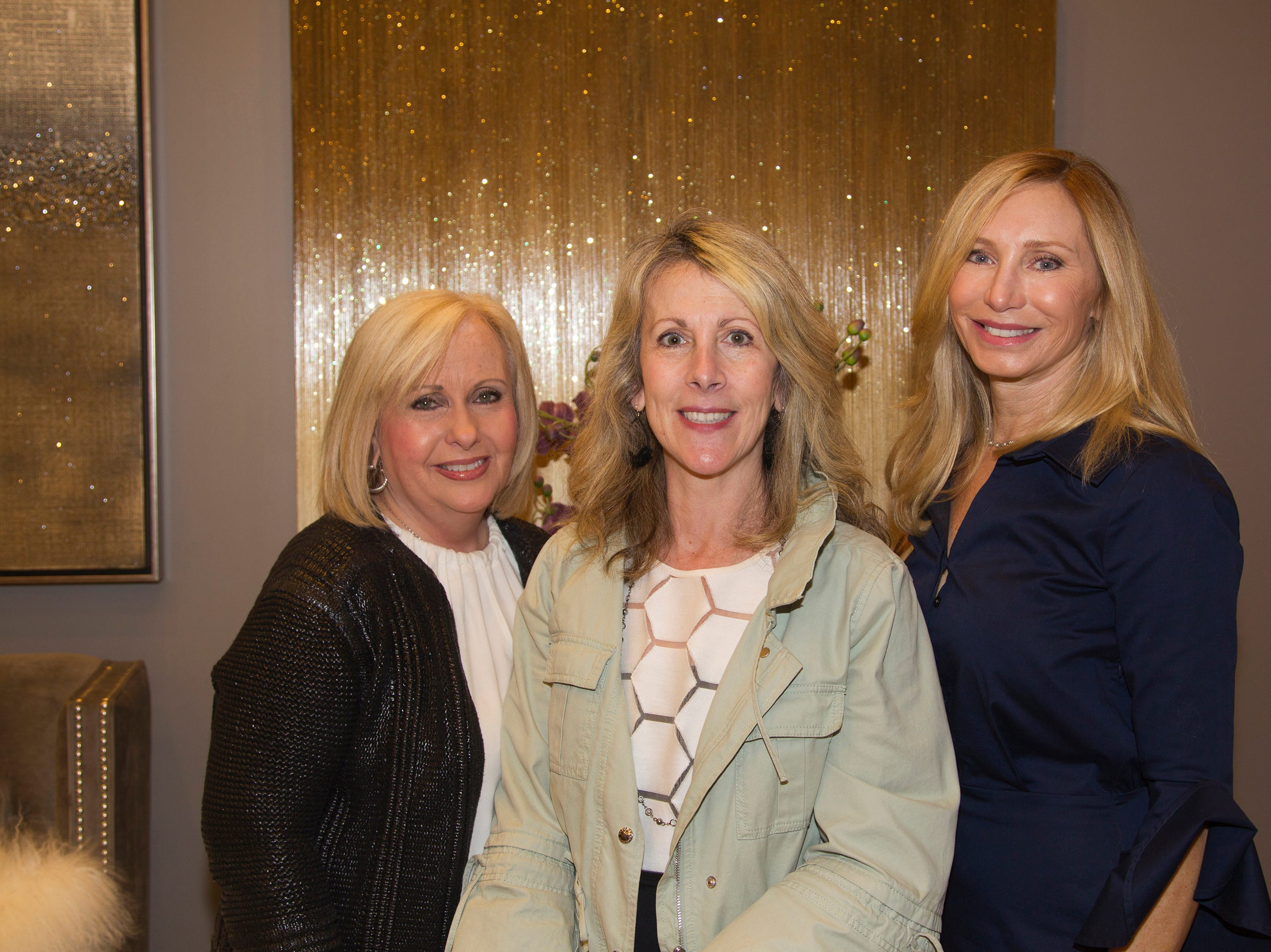 Kathie Durante, Ronnie O'Neill, Darlene Finn. Westfield Garden State Plaza held its Meet the Artist & Trend Show benefitting The Valley Hospital Auxillary Saddle River Branch. 04/03/2019