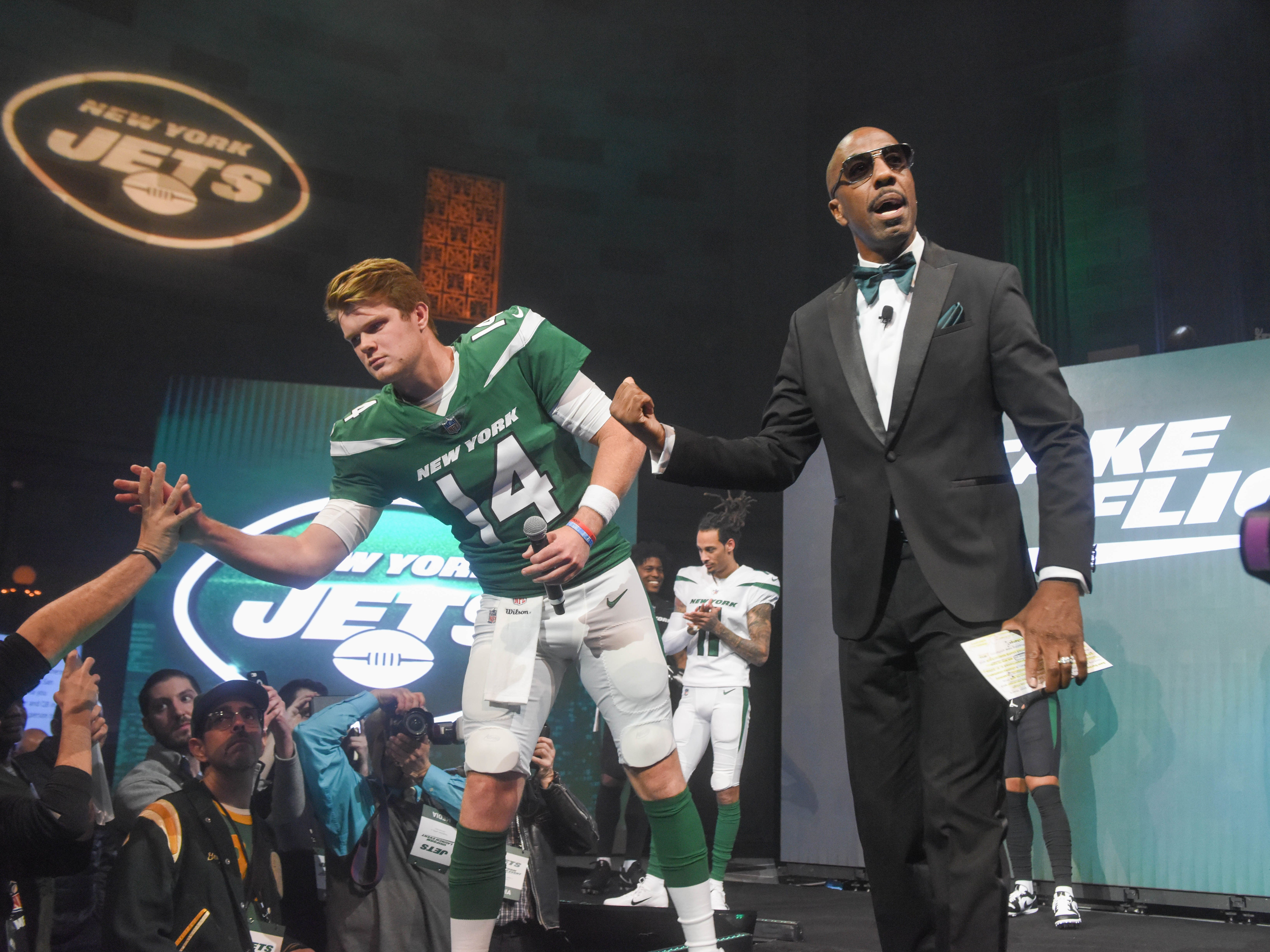 Sam Darnold (NY Jets) and J. B. Smoove (Comedian/Event Host). The NY Jets unveiled their new football uniforms with an event hosted by JB Smoove at Gotham Hall in New York. 04/05/2019