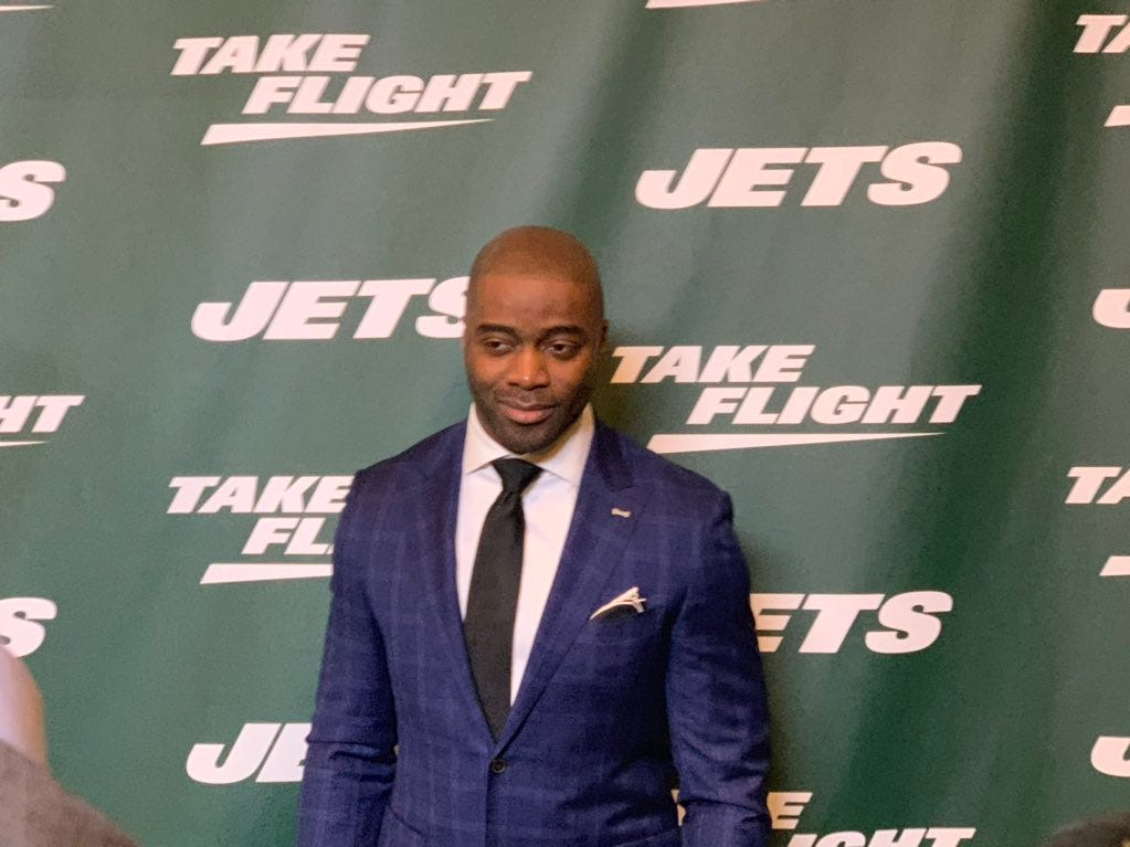 New York Jets Hall of Famer Curtis Martin was on hand as the team unveiled its new uniforms on Thursday, April 4, 2019.