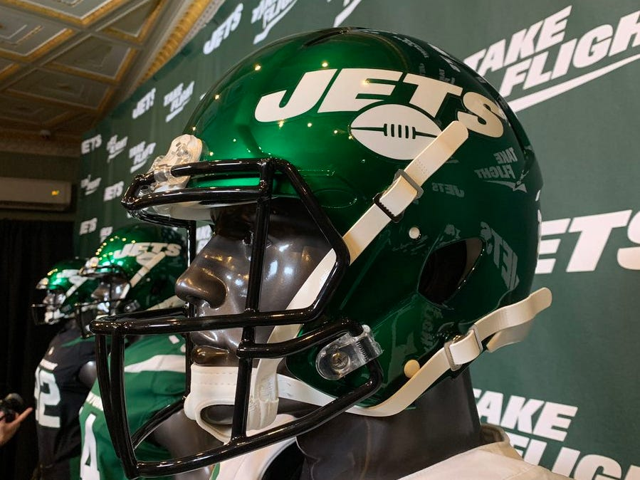 A look at the Jets' new helmets, which were revealed as part of the new uniforms ceremony on Thursday, April 4.
