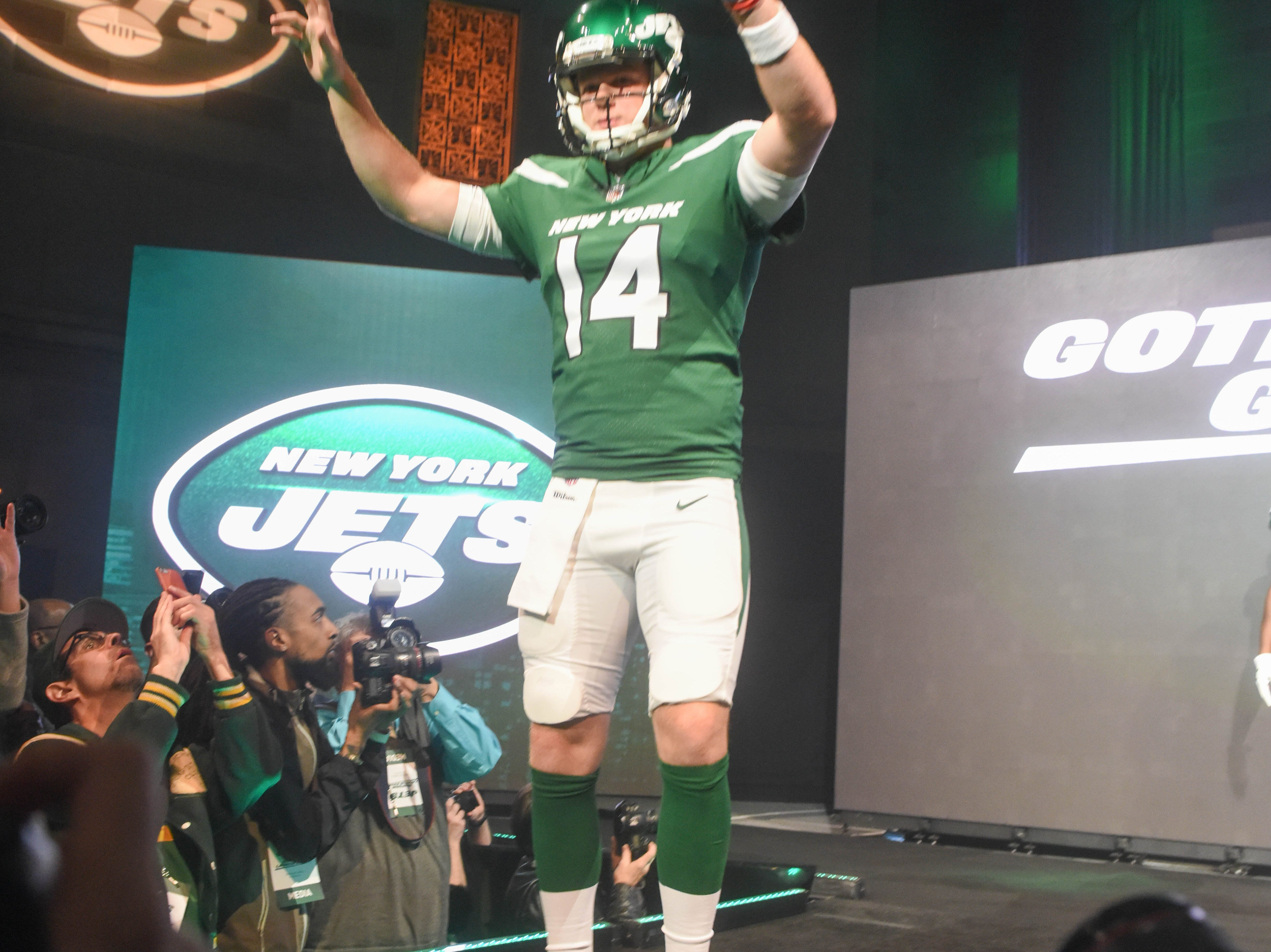 Sam Darnold (NY Jets). The NY Jets unveiled their new football uniforms with an event hosted by JB Smoove at Gotham Hall in New York. 04/05/2019