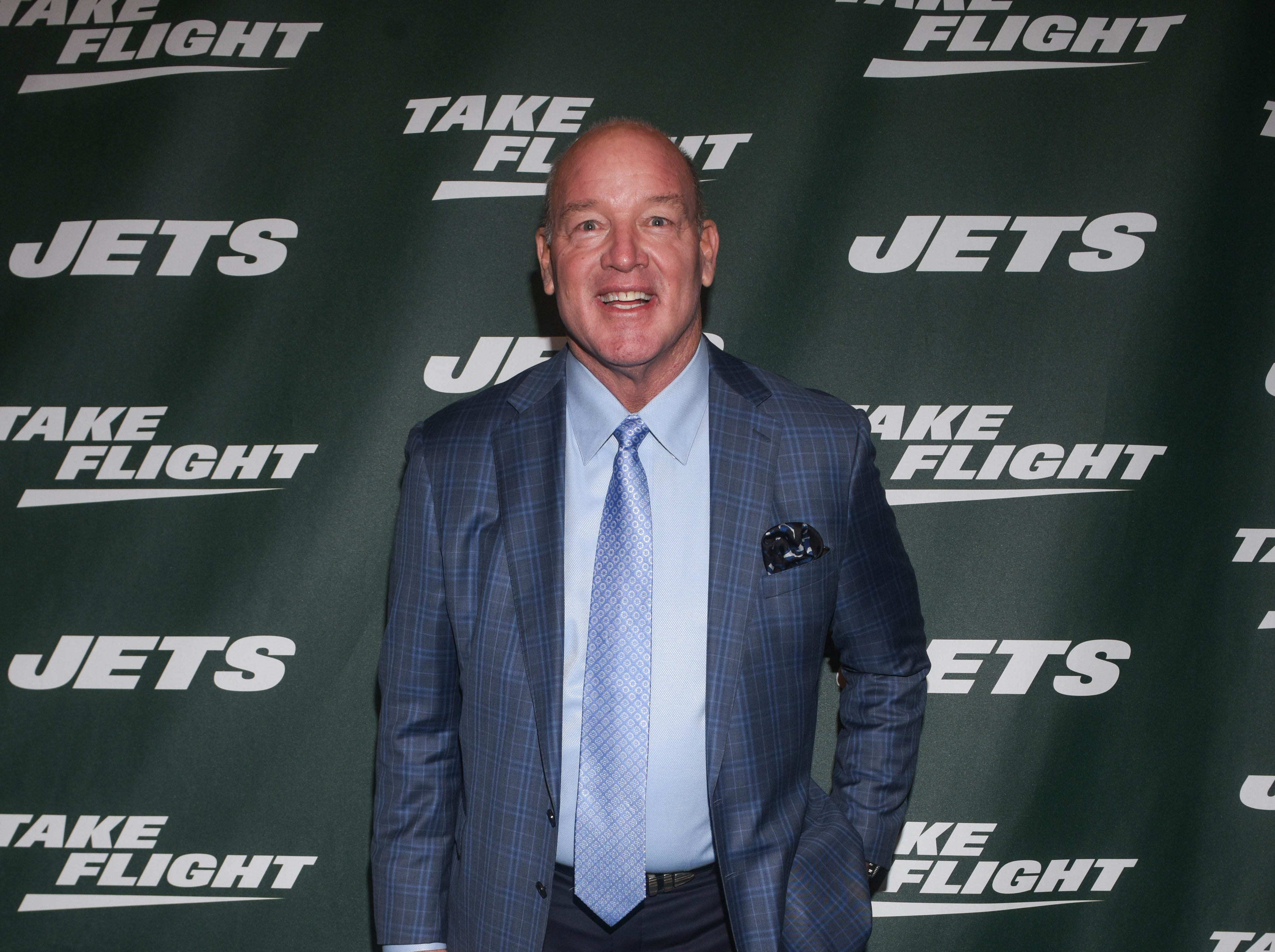 Marty Lyons (NY Jets). The NY Jets unveiled their new football uniforms with an event hosted by JB Smoove at Gotham Hall in New York. 04/05/2019