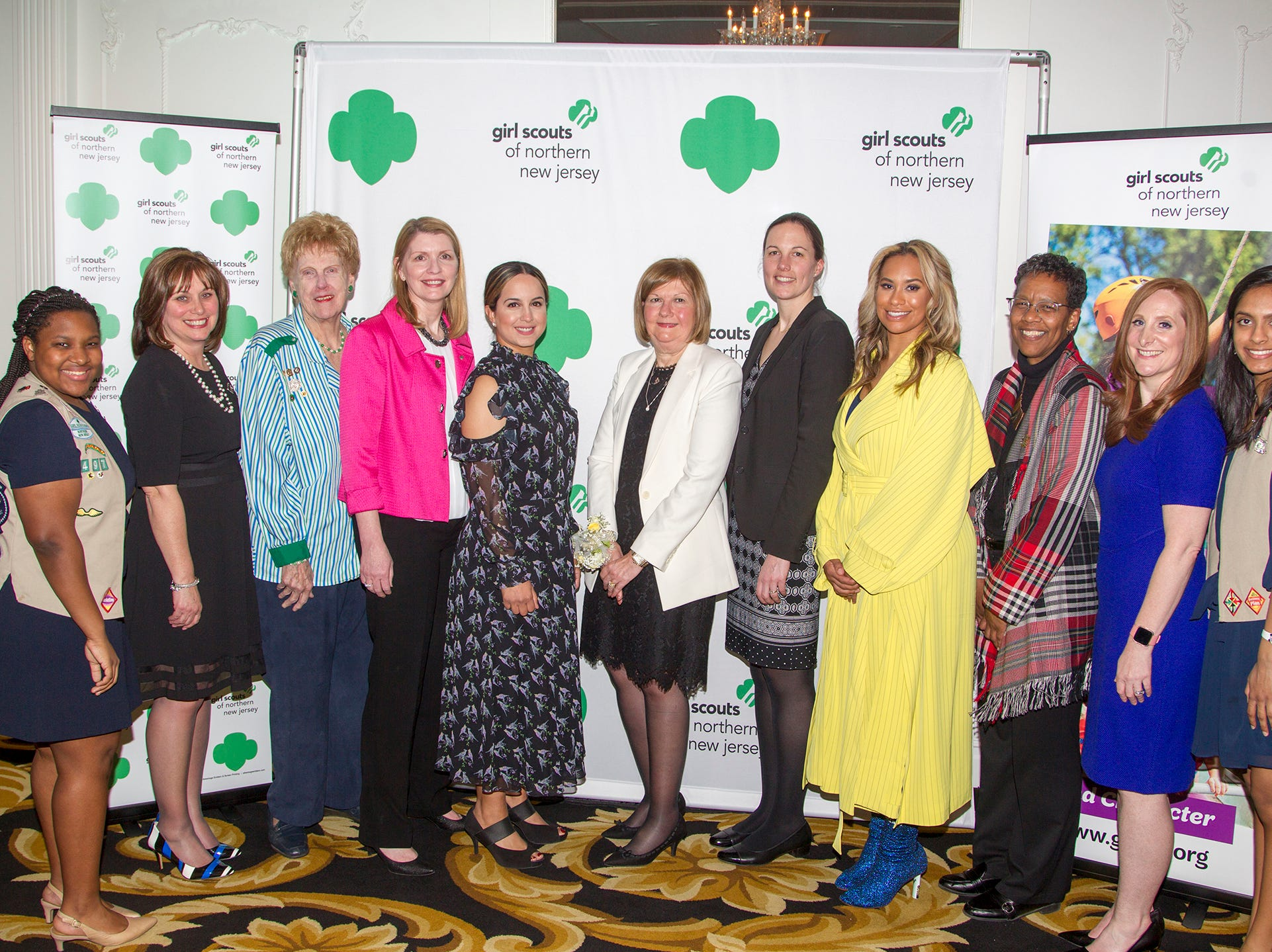 Lexi Dunn, Betty Garger, Honorees - Martha De Young, Lisa Brady, Balpreet Grewal-Virk, June Bray, Janet Henry Cash, Amber Sabathia, Bette Simmons, Shanna Jafri, Anjali Patel. Girl Scouts of Northern New Jersey held its Women of Achievement 2019 at Westmount Country Club in Woodland Park. 04/04/2019