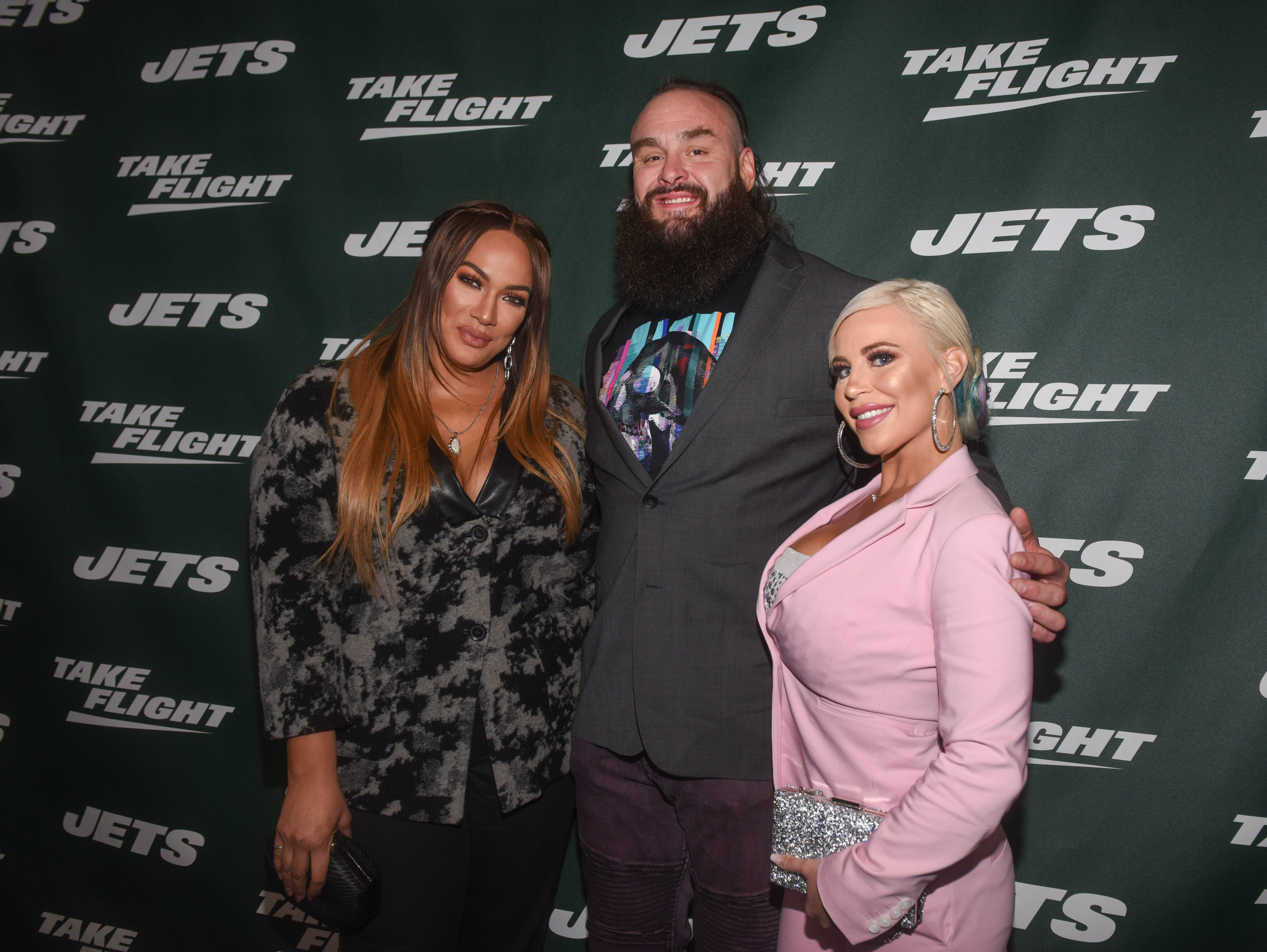 Nia Jax (WWE), Braun Strowman (WWE) and Mandy Rose (WWE). The NY Jets unveiled their new football uniforms with an event hosted by JB Smoove at Gotham Hall in New York. 04/05/2019