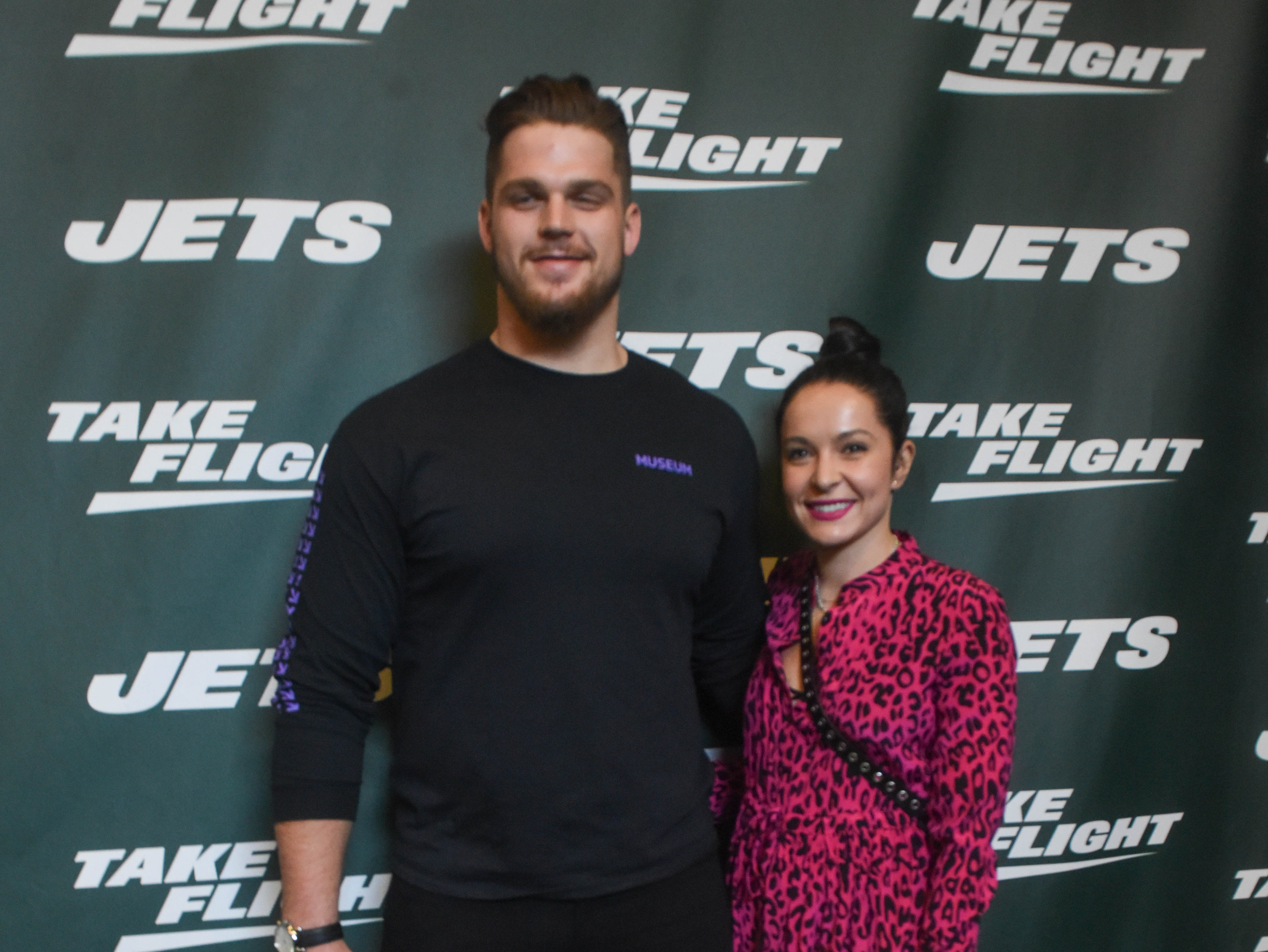 Jon Toth (NY Jets) and guest. The NY Jets unveiled their new football uniforms with an event hosted by JB Smoove at Gotham Hall in New York. 04/05/2019