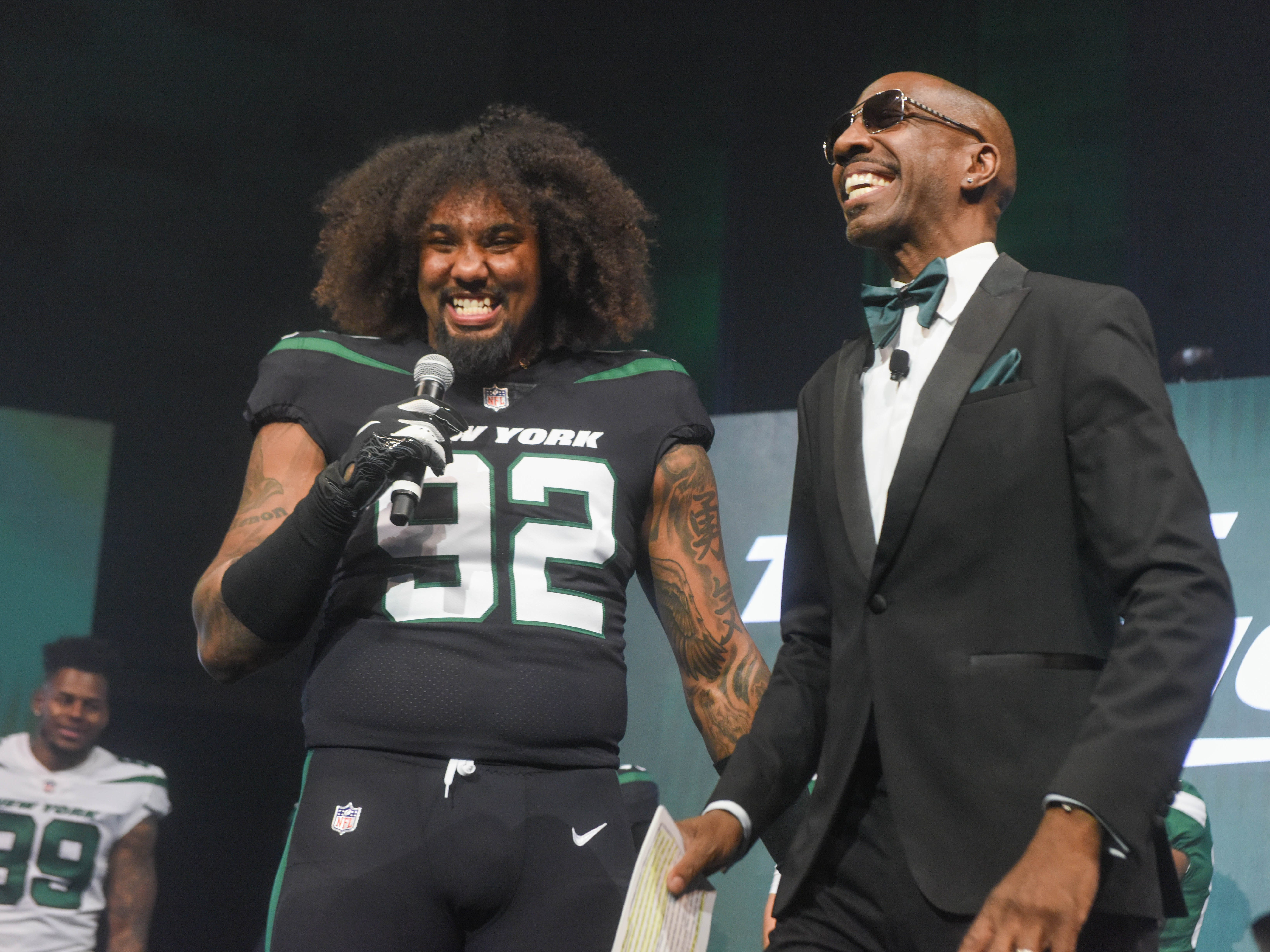 Leonard Williams (NY Jets) and J. B. Smoove (Comedian/Event Host). The NY Jets unveiled their new football uniforms with an event hosted by JB Smoove at Gotham Hall in New York. 04/05/2019