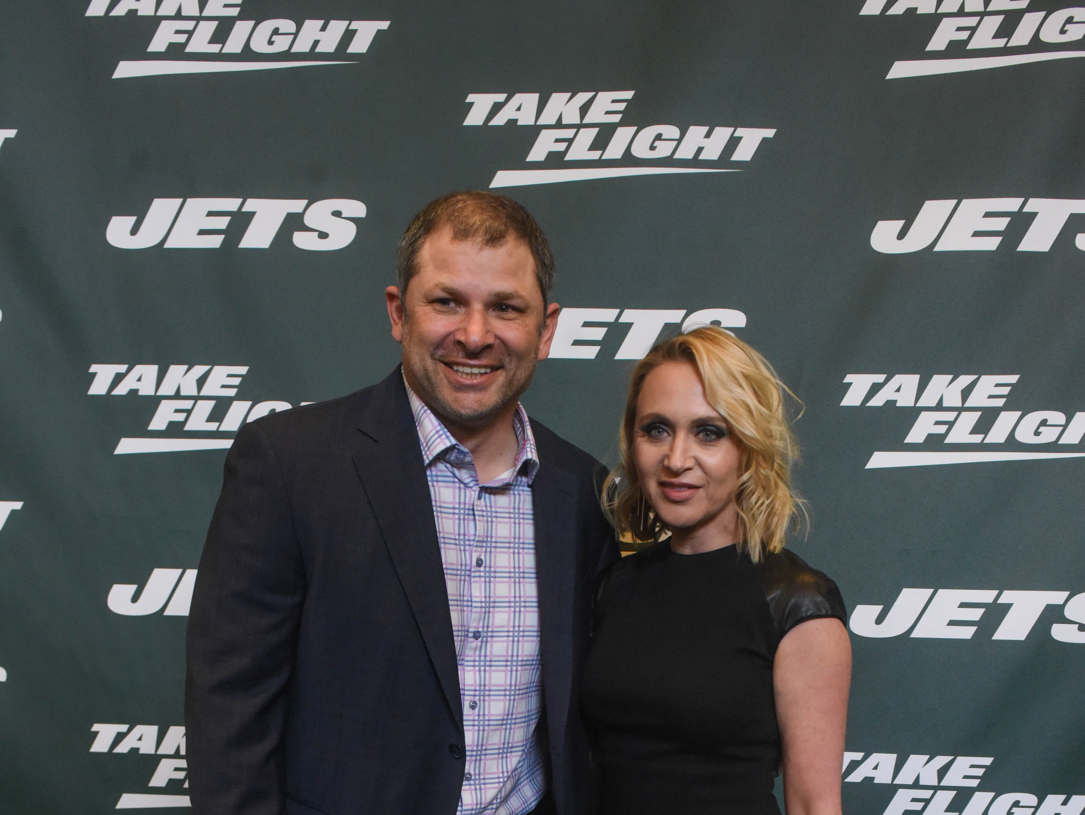 Wayne Chrebet (NY Jets) and Amy Chrebet. The NY Jets unveiled their new football uniforms with an event hosted by JB Smoove at Gotham Hall in New York. 04/05/2019