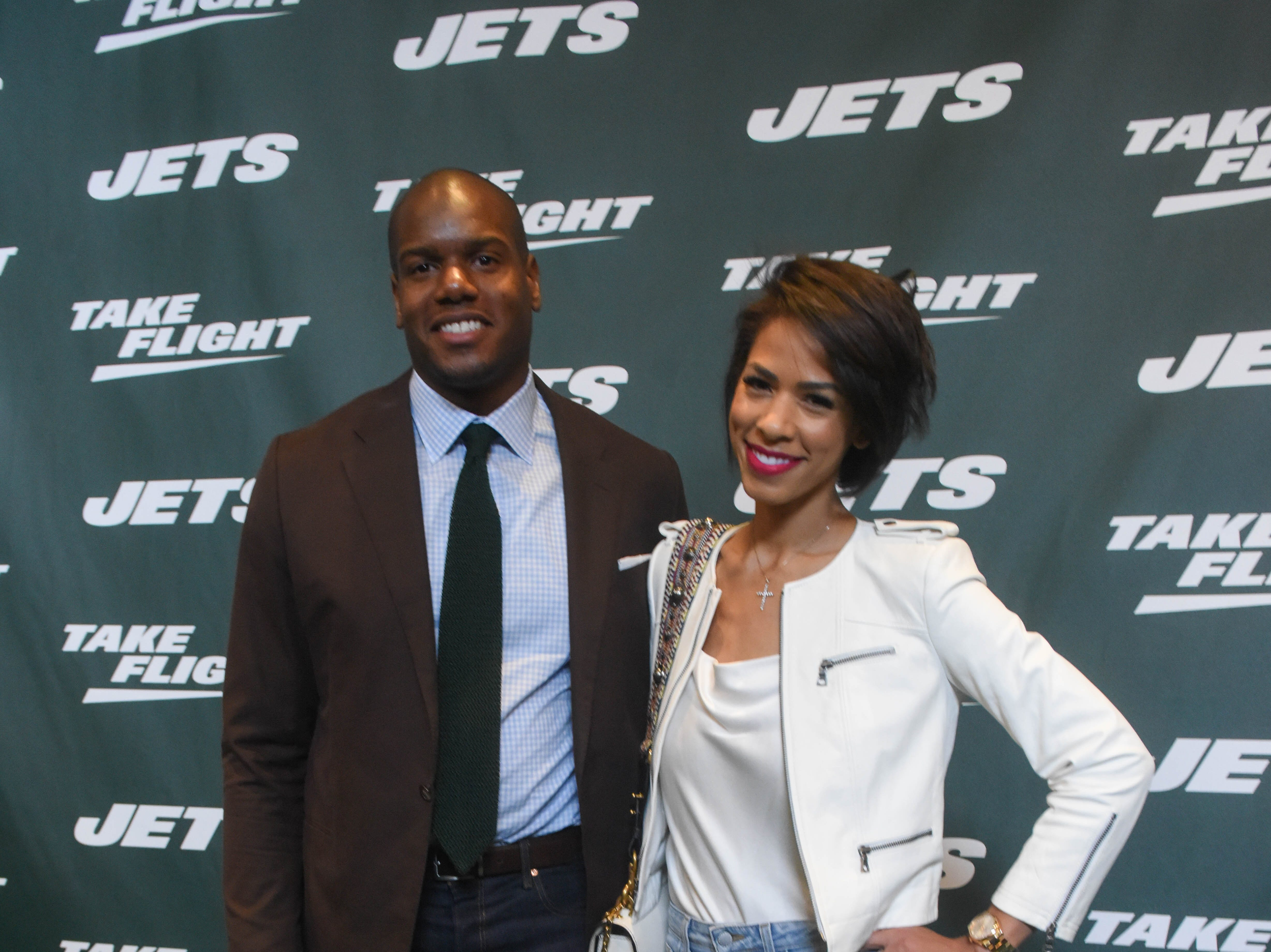 D'Brickashaw Ferguson (NY Jets) and Kirsten Ferguson. The NY Jets unveiled their new football uniforms with an event hosted by JB Smoove at Gotham Hall in New York. 04/05/2019