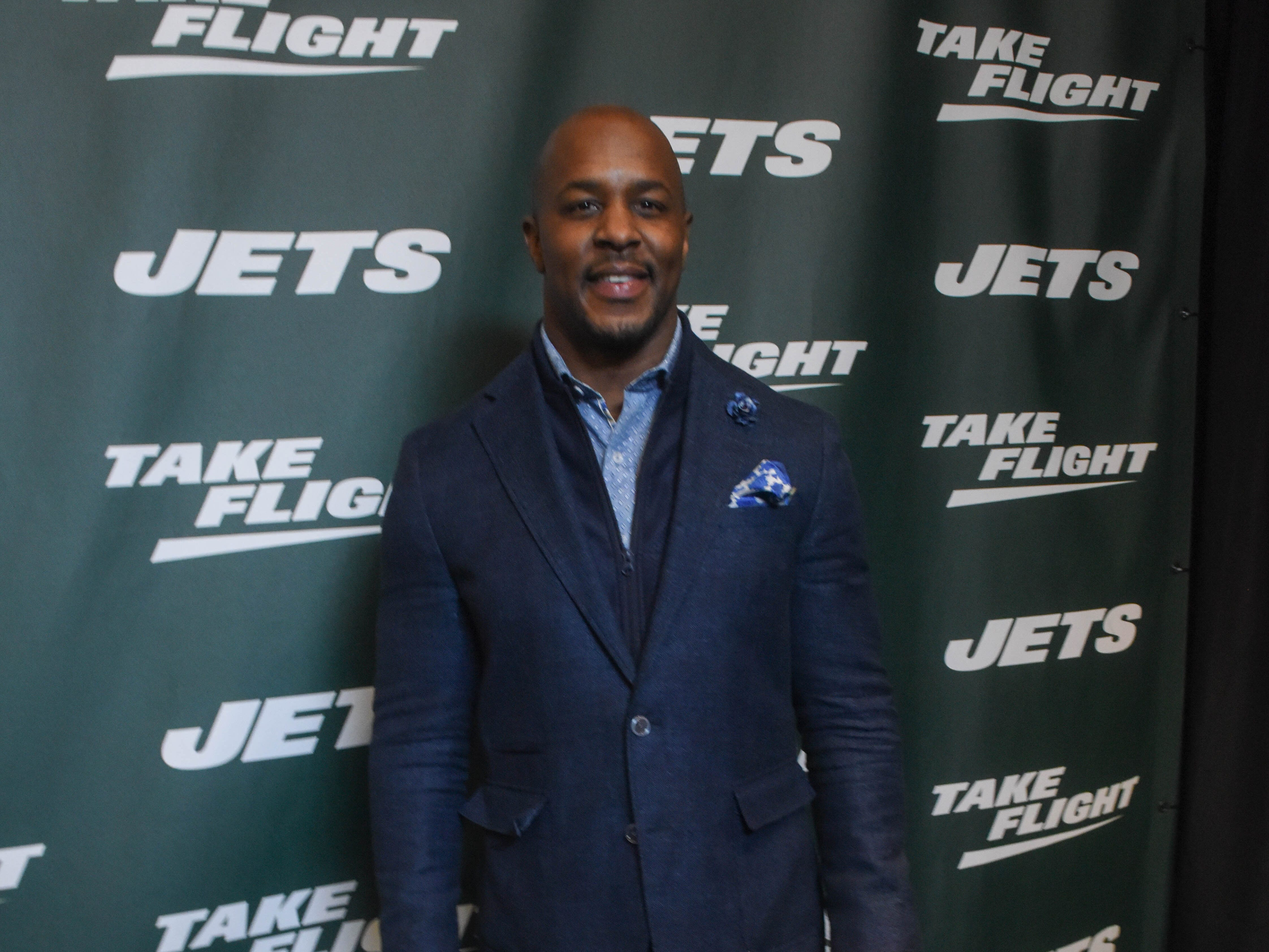 Erik Coleman (NY Jets). The NY Jets unveiled their new football uniforms with an event hosted by JB Smoove at Gotham Hall in New York. 04/05/2019