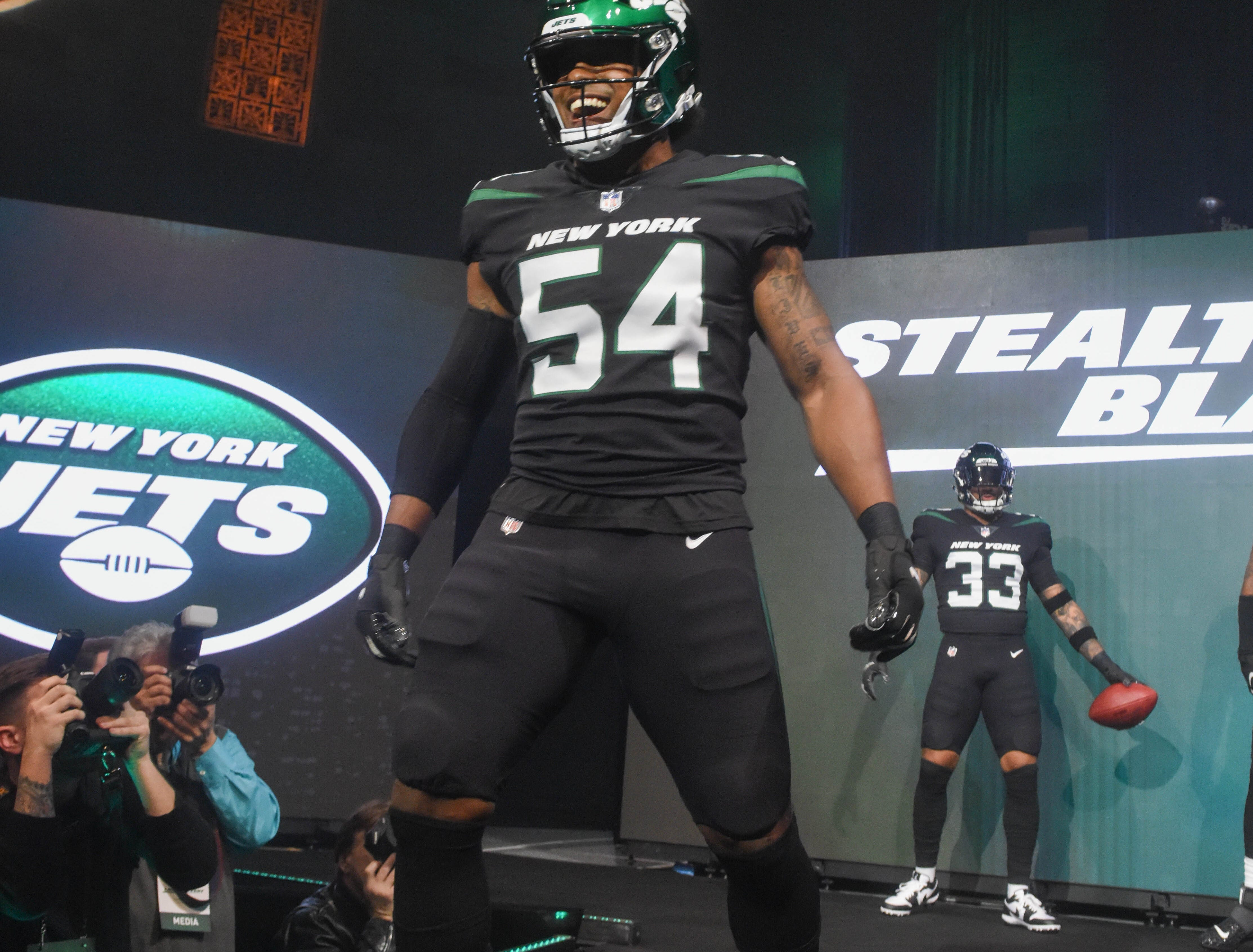 Avery Williamson (NY Jets). The NY Jets unveiled their new football uniforms with an event hosted by JB Smoove at Gotham Hall in New York. 04/05/2019