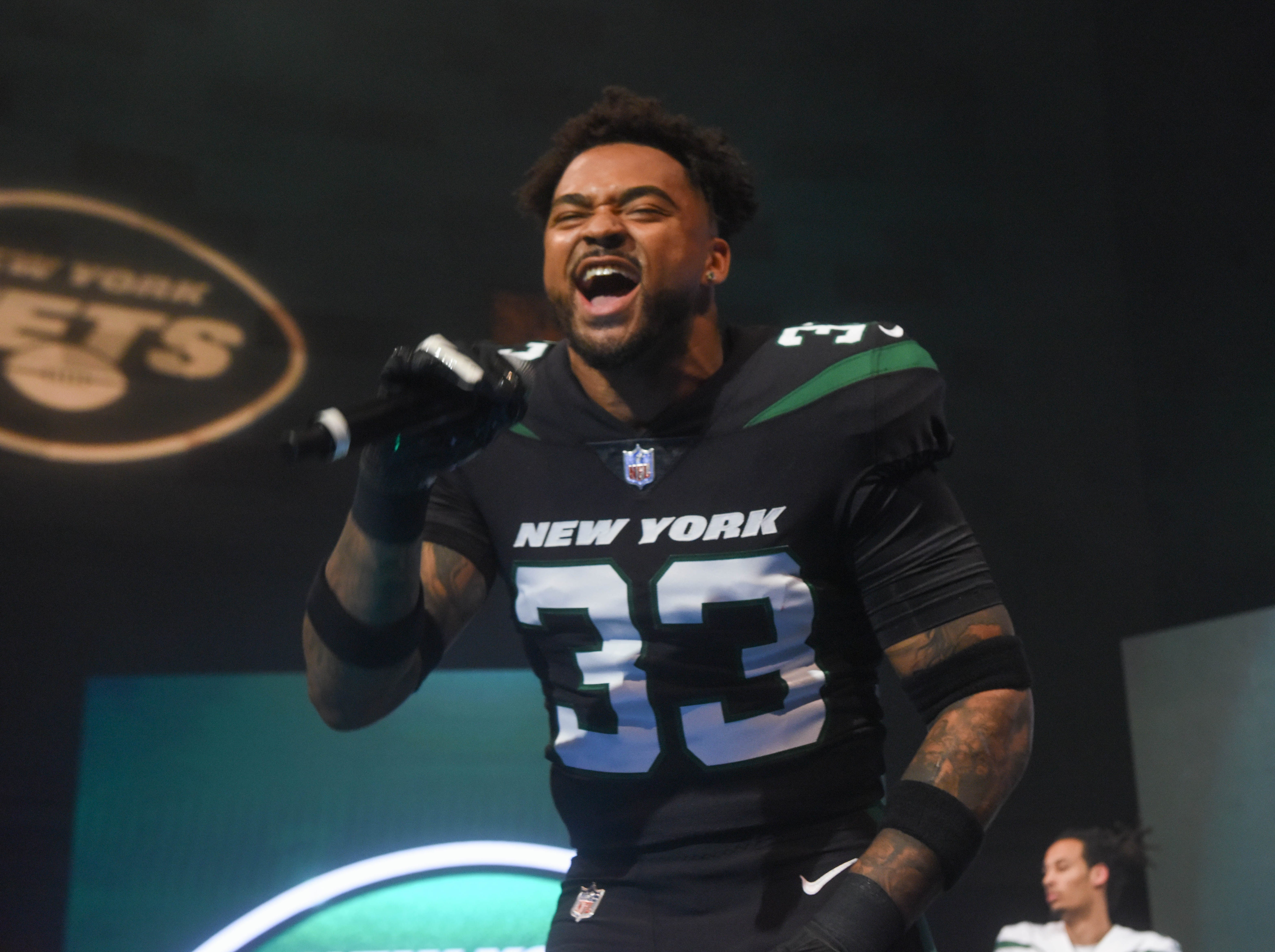 Jamal Adams (NY Jets).The NY Jets unveiled their new football uniforms with an event hosted by JB Smoove at Gotham Hall in New York. 04/05/2019