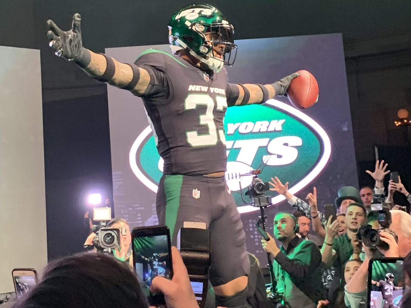 """Jamal Adams in the new """"stealth black"""" alternate jerseys as the New York Jets unveiled the team's new uniforms on Thursday, April 4, 2019."""