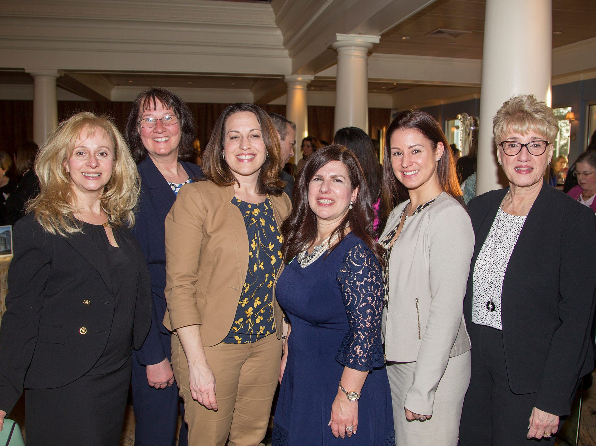 Kearny Bank-Patricia Hulbert, Erika Sacher, AnnMarie Feret, Veronica Ross, Jennifer Hawley, Linda Hanlon. Girl Scouts of Northern New Jersey held its Women of Achievement 2019 at Westmount Country Club in Woodland Park. 04/04/2019