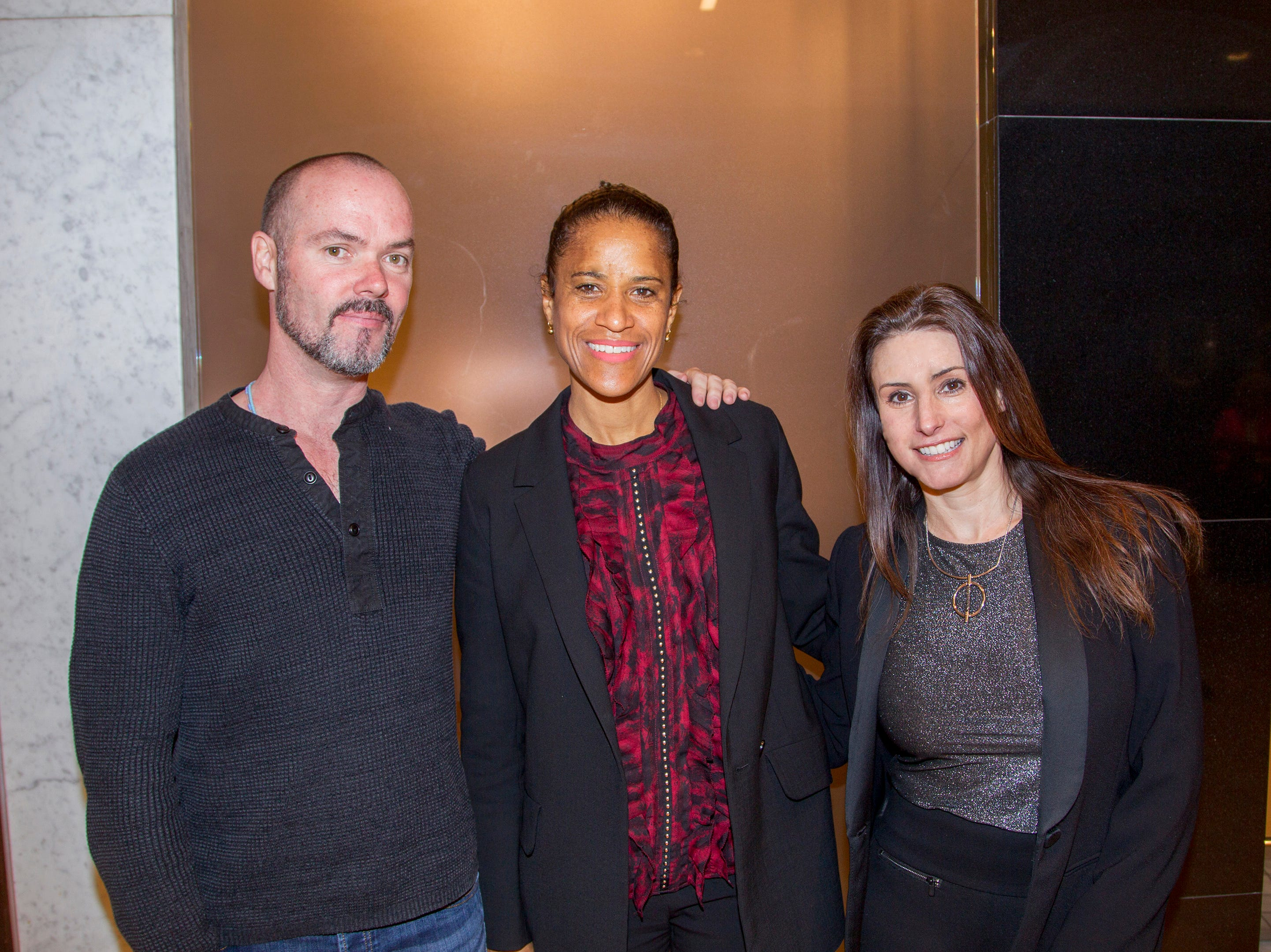 Tomothy Paul Myers, Isolde Brielmaier, Lisa Herrmann. Westfield Garden State Plaza held its Meet the Artist & Trend Show benefitting The Valley Hospital Auxillary Saddle River Branch. 04/03/2019