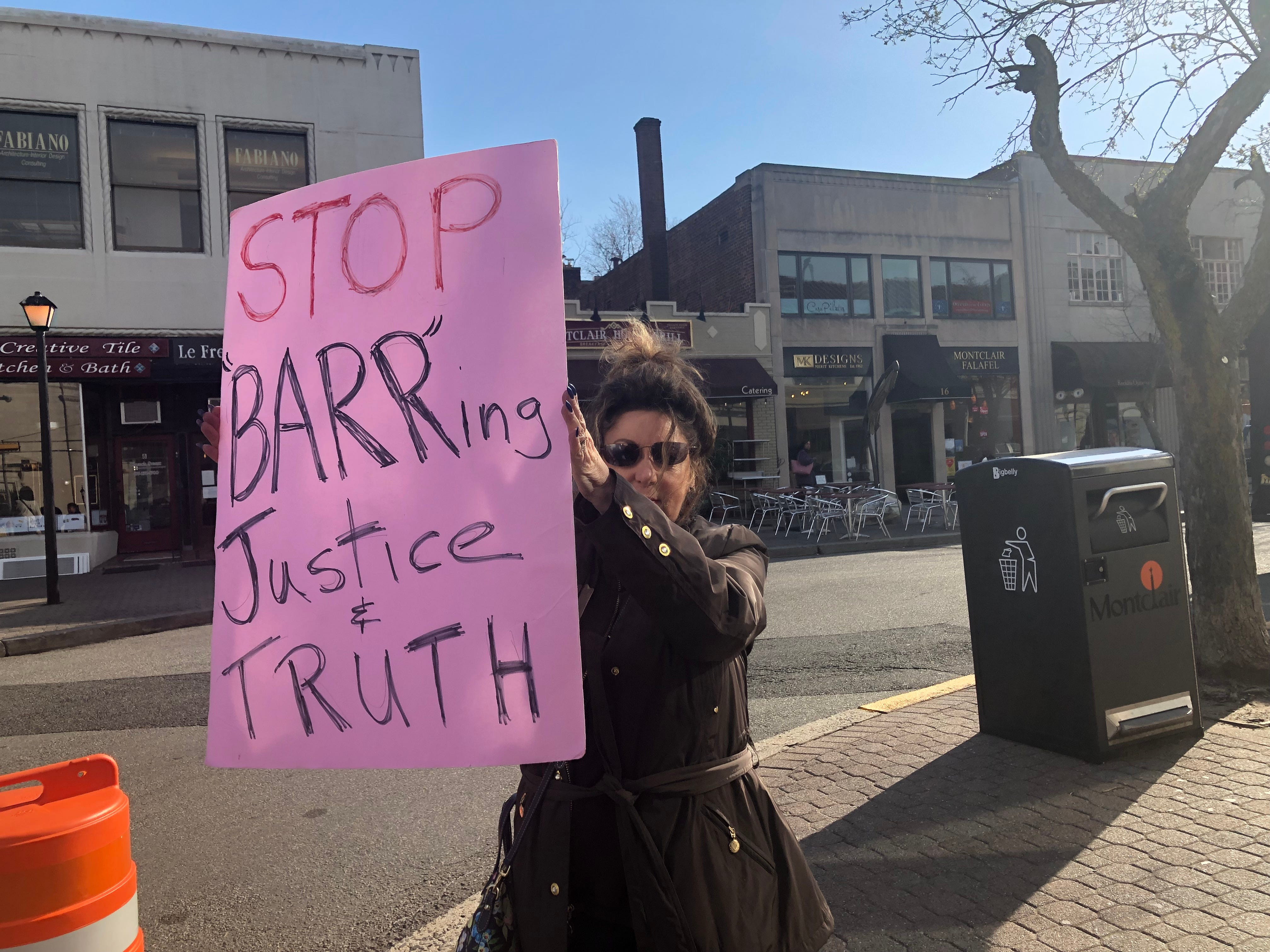 Protesters lined Bloomfield Avenue at the Six Corners intersection in downtown Montclair on Thursday, calling on the federal government to #Release the Report of Special Counsel Robert Mueller in the investigation into Russian interference in the 2016 election.