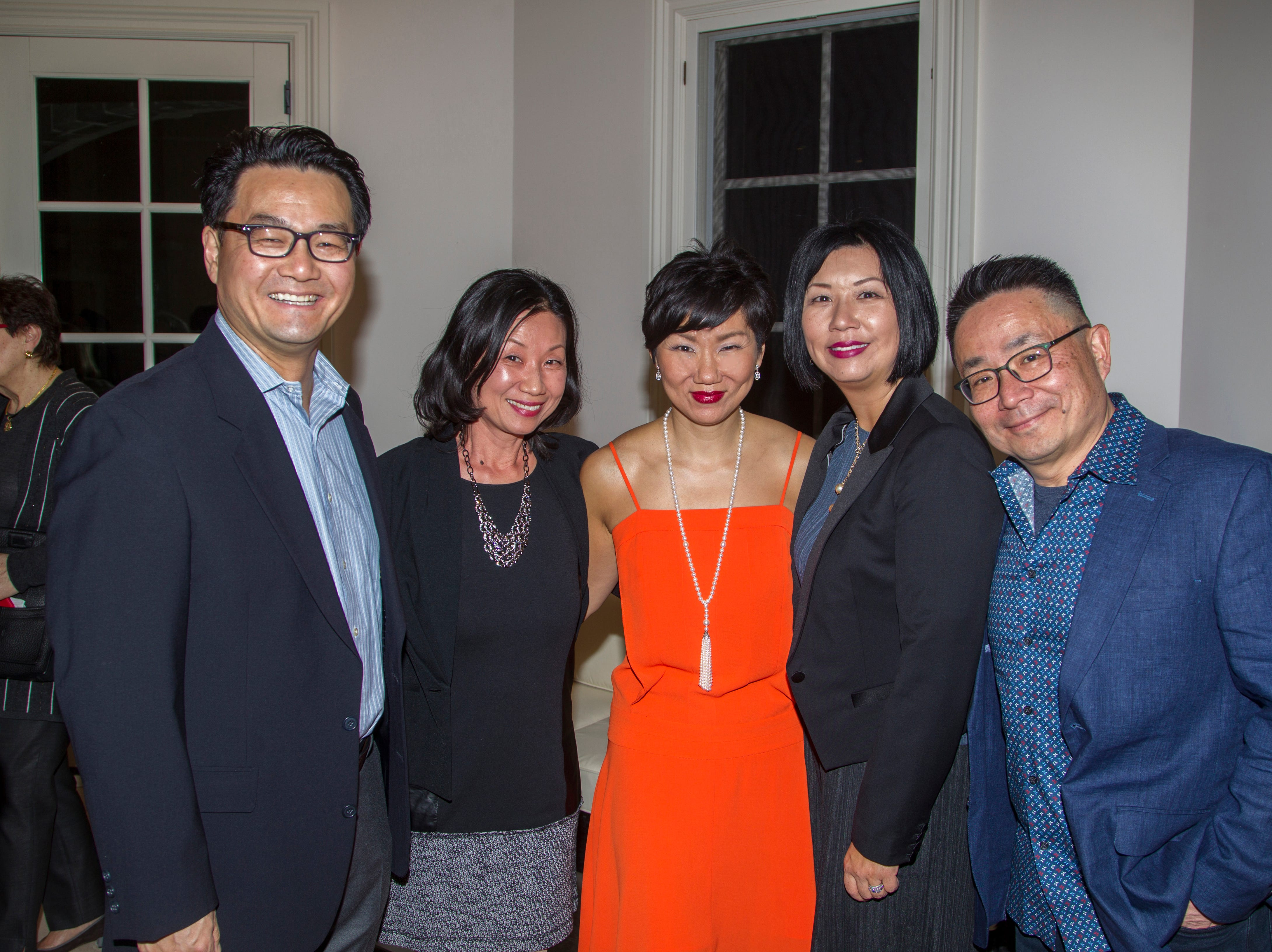 Henry Kim, Jeannie Suh, Yuvette Lee, Eunice Lee, John Suh. Saddle River Arts Council presents An Evening of Giving Back featureing Eric Genuis in Saddle River. 03/30/2019