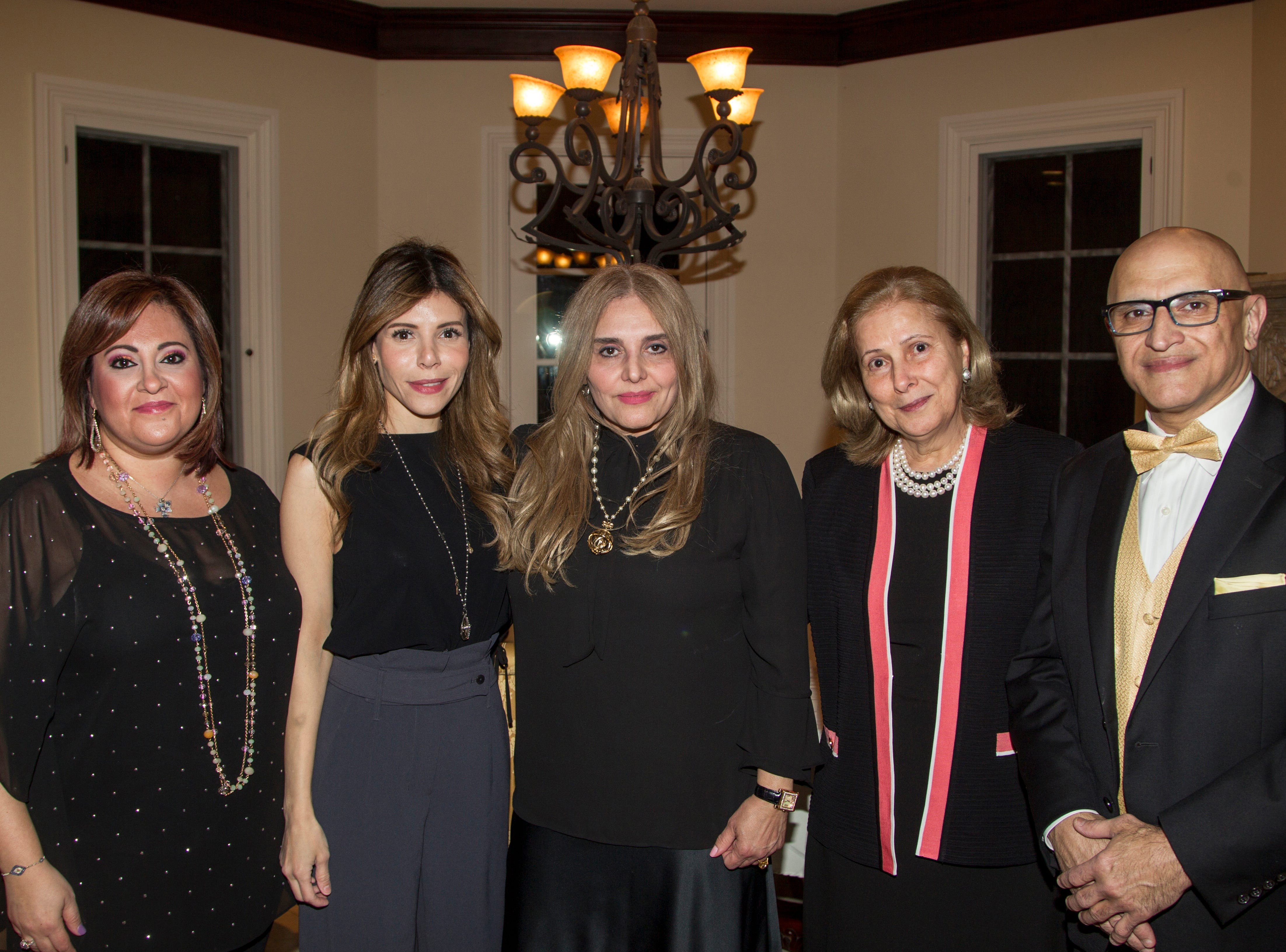 Mary Carroll, Sandy Kurtz, Brooke Rezvani, Nora Kurts, Fred Rezvani. Saddle River Arts Council presents An Evening of Giving Back featureing Eric Genuis in Saddle River. 03/30/2019