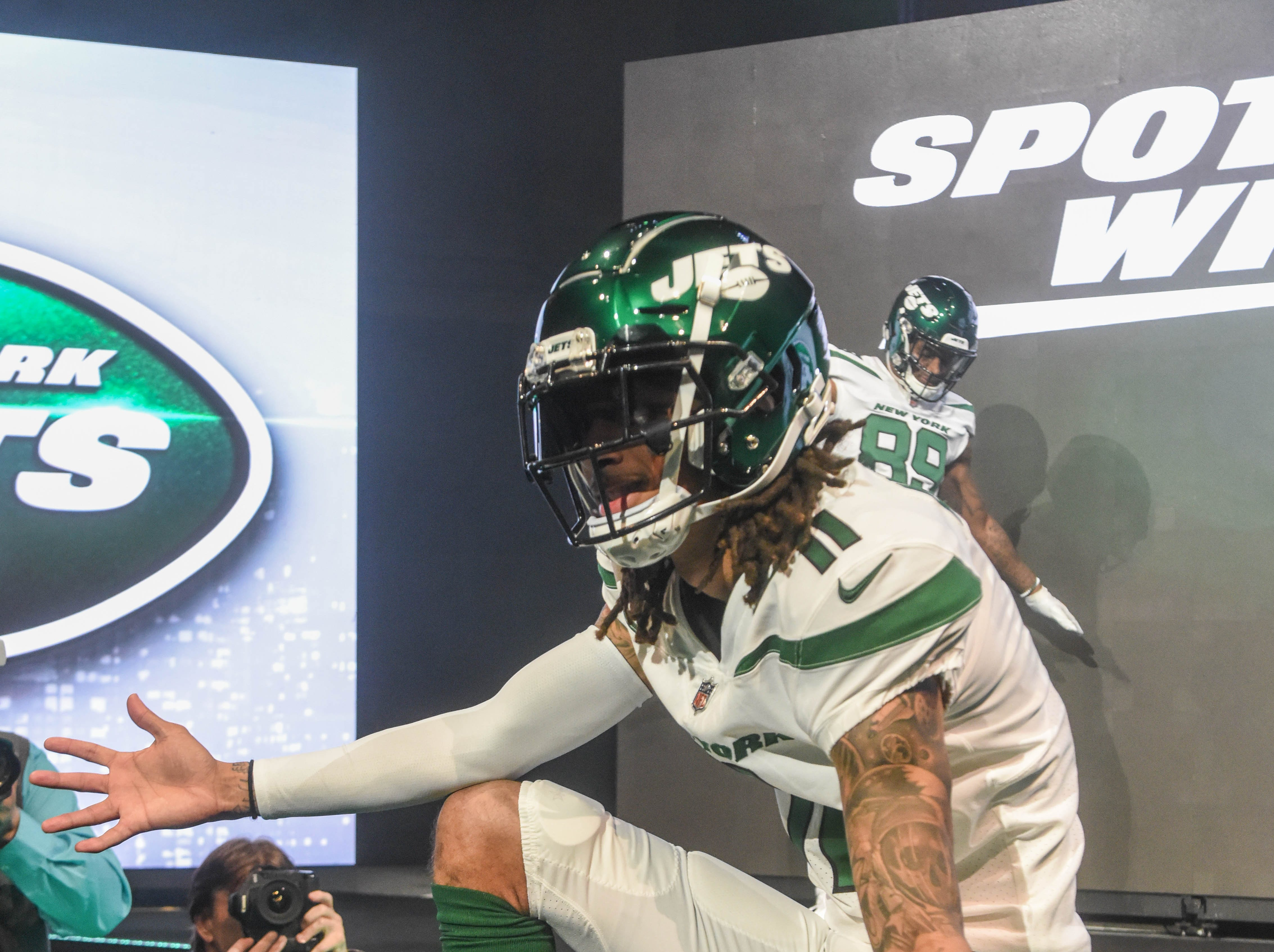 Robby Anderson (NY Jets). The NY Jets unveiled their new football uniforms with an event hosted by JB Smoove at Gotham Hall in New York. 04/05/2019