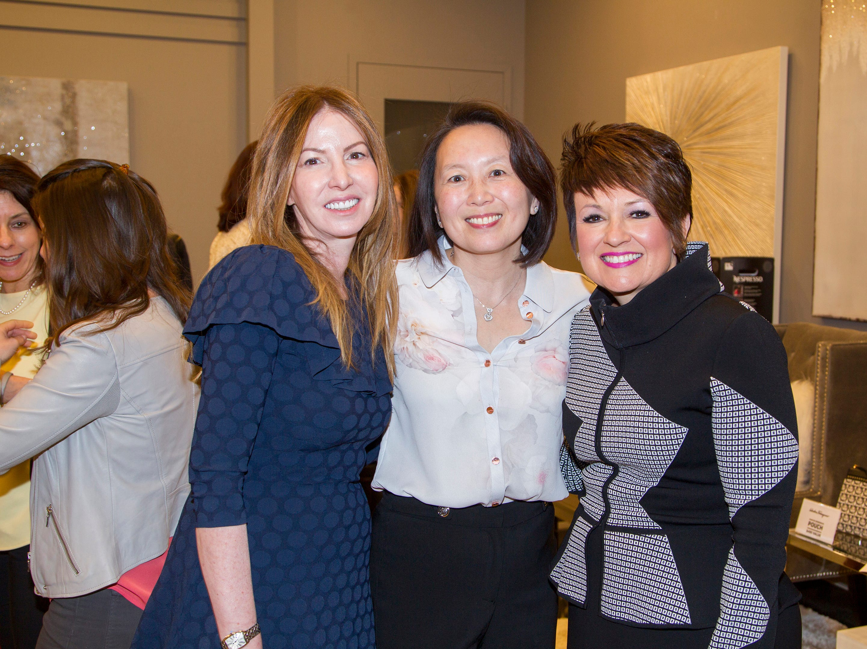 Paula Hian, Jean Holden, Nancy Bush. Westfield Garden State Plaza held its Meet the Artist & Trend Show benefitting The Valley Hospital Auxillary Saddle River Branch. 04/03/2019