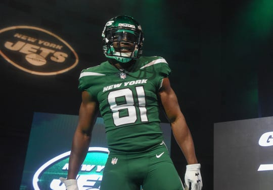 Quincy Enunwa (NY Jets). The NY Jets unveiled their new football uniforms with an event hosted by JB Smoove at Gotham Hall in New York. 04/05/2019