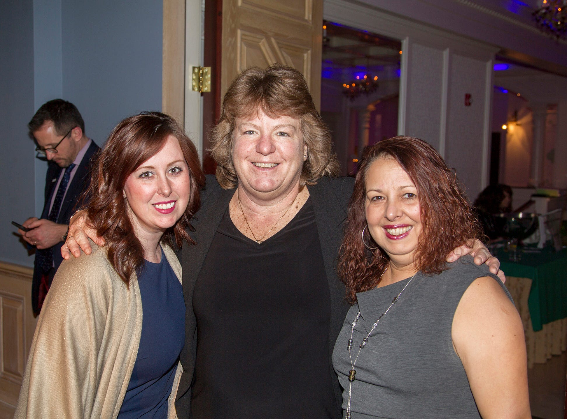 Elaine Andkecouich, Tricia hawley, Gigi Regolizxio. Girl Scouts of Northern New Jersey held its Women of Achievement 2019 at Westmount Country Club in Woodland Park. 04/04/2019