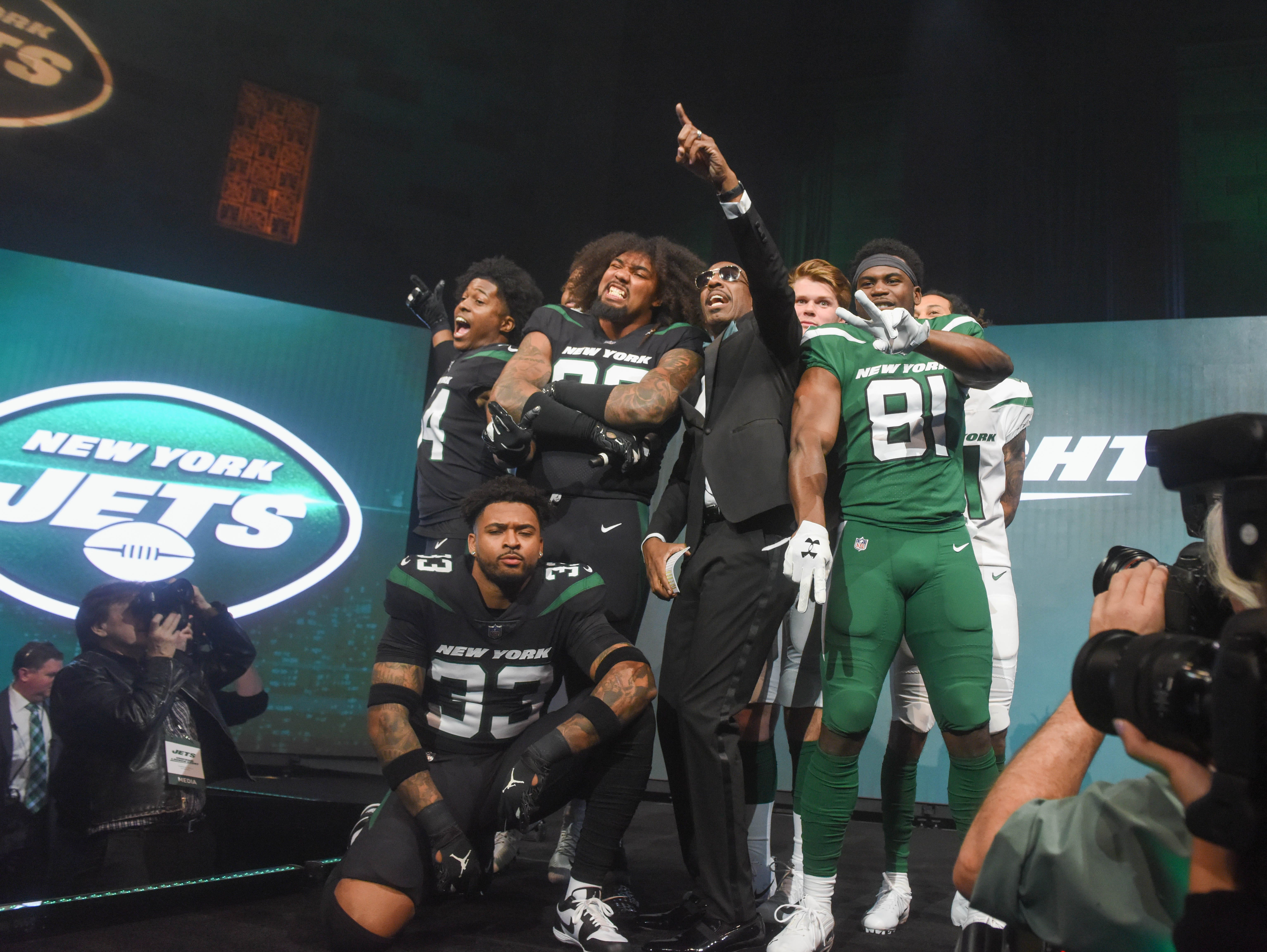 The NY Jets unveiled their new football uniforms with an event hosted by JB Smoove at Gotham Hall in New York. 04/05/2019