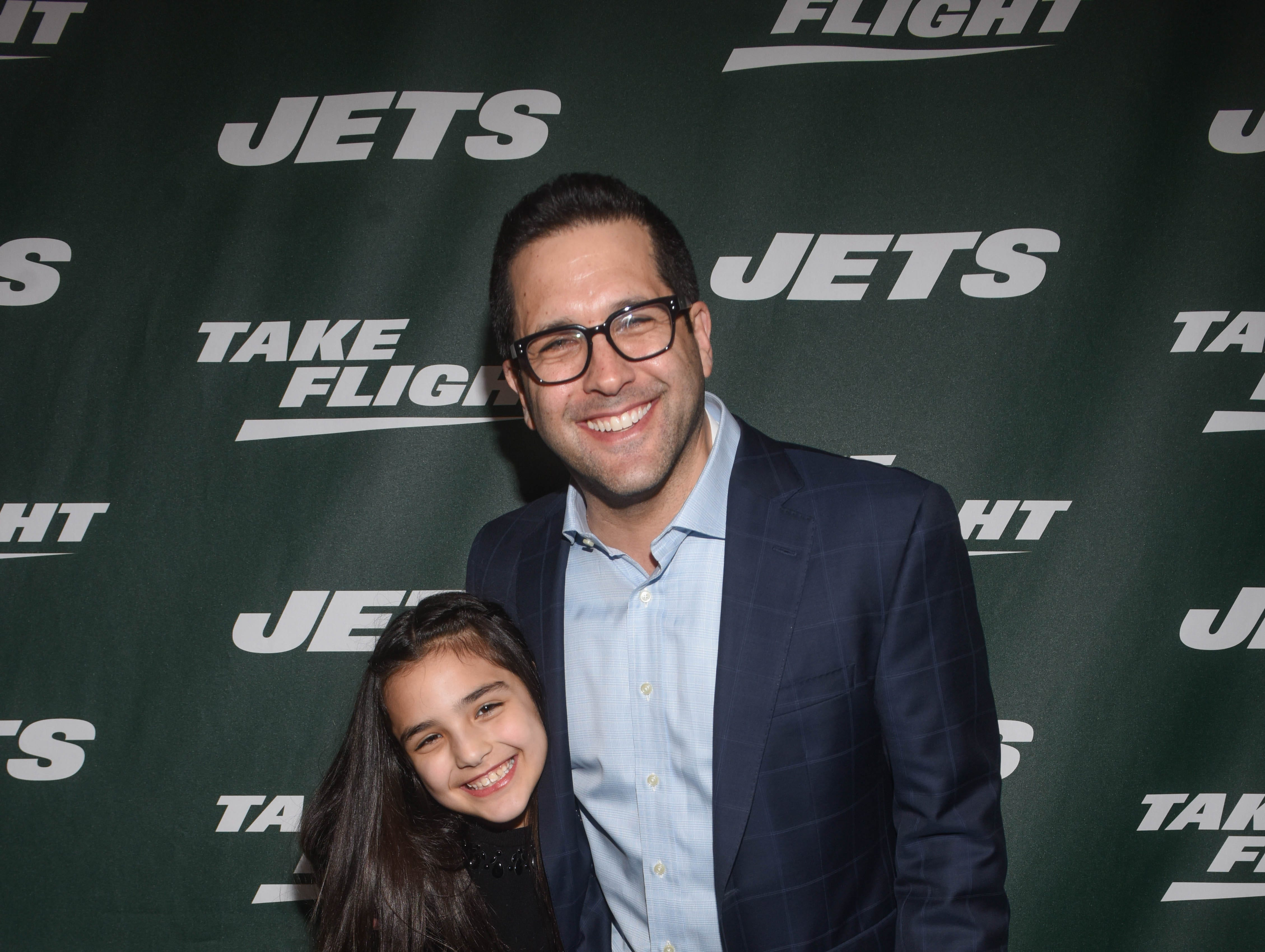 Adam Schefter and Dylan Schefter. The NY Jets unveiled their new football uniforms with an event hosted by JB Smoove at Gotham Hall in New York. 04/05/2019