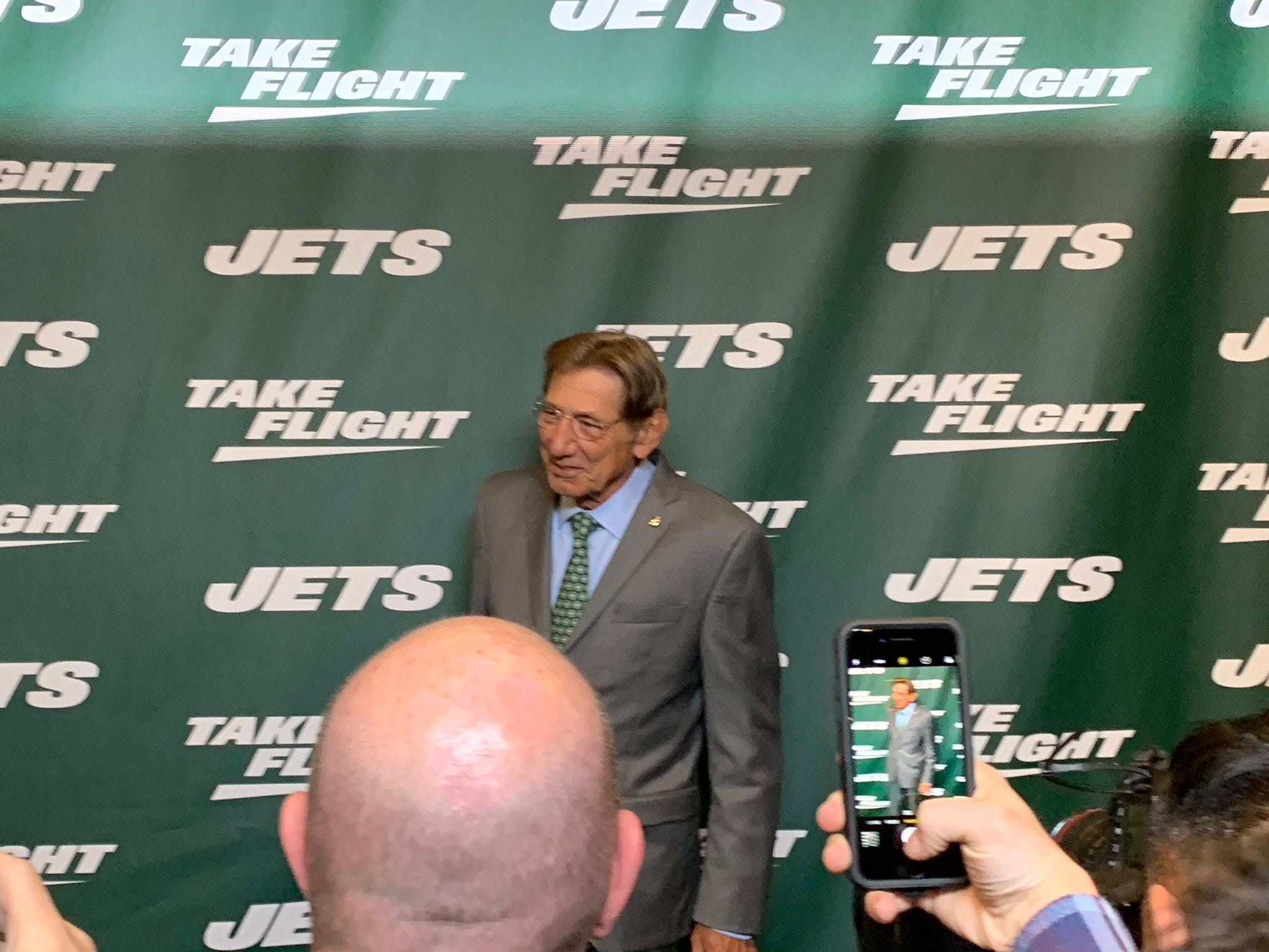 New York Jets legend Joe Namath was on hand as the team unveiled its new uniforms on Thursday, April 4, 2019.