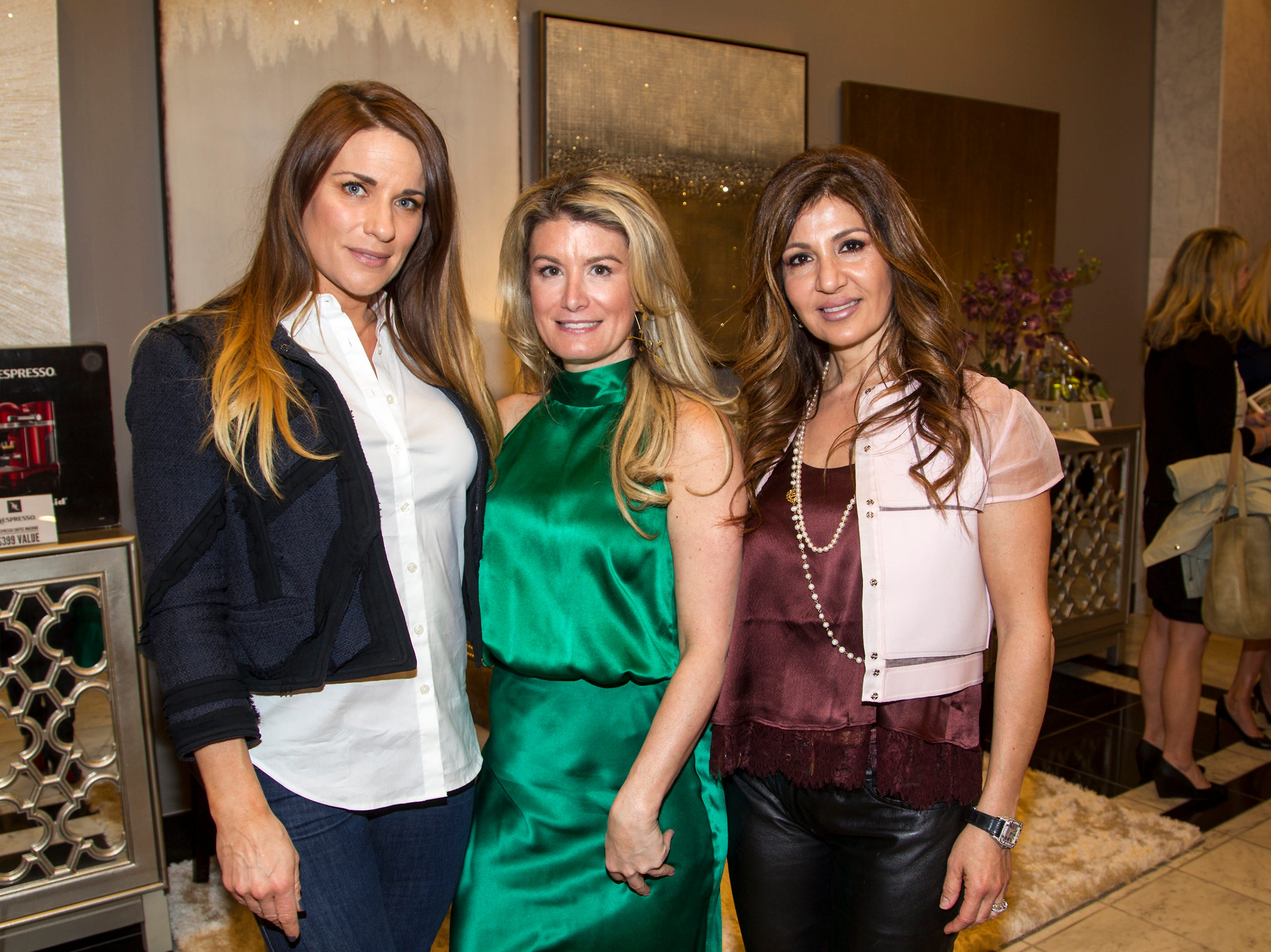 Sarah Hasson, Candace Kristin, Susan Koushagjian. Westfield Garden State Plaza held its Meet the Artist & Trend Show benefitting The Valley Hospital Auxillary Saddle River Branch. 04/03/2019