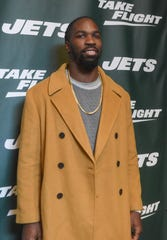 C.J. Mosley (NY Jets). The NY Jets unveiled their new football uniforms with an event hosted by JB Smoove at Gotham Hall in New York. 04/05/2019
