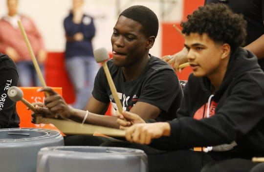 Eighth-graders at Haledon Public School, including Shemar Scotland and José Arredondo, performed percussion music, inspired by lessons they learned in African-American history, at an assembly on April 5.
