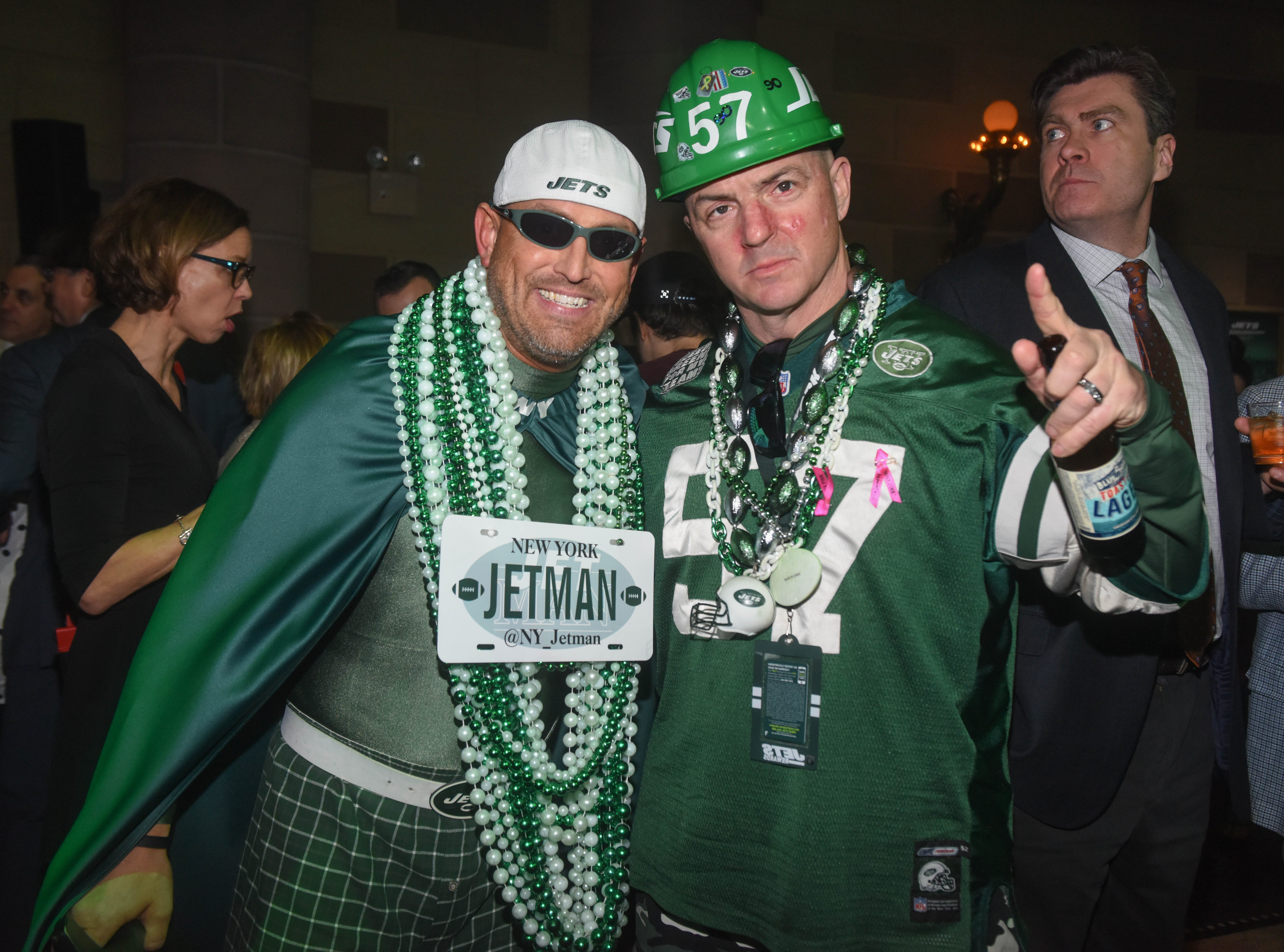 Jet Man and Fireman Ed. The NY Jets unveiled their new football uniforms with an event hosted by JB Smoove at Gotham Hall in New York. 04/05/2019