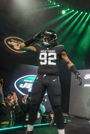 Leonard Williams (NY Jets). The NY Jets unveiled their new football uniforms with an event hosted by JB Smoove at Gotham Hall in New York. 04/05/2019