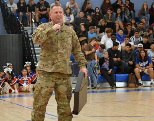 Captain Jason J. Kidd returned to his alma mater Las Cruces High to make a presentation in front of the school during an assembly.