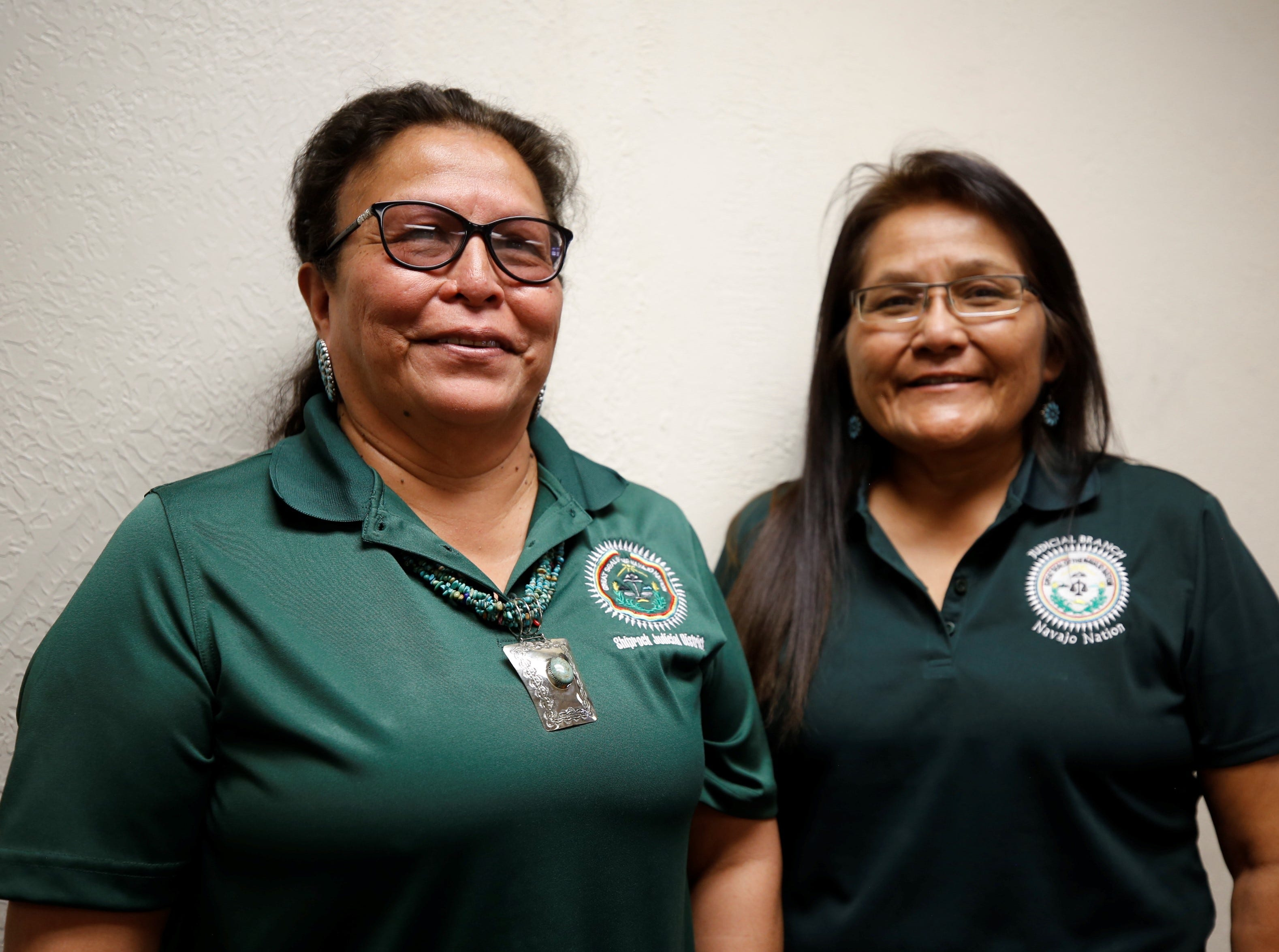 Genevieve Woody, left, and Irene Black have been serving as judges for 13 years for the Navajo Nation Judicial Branch. Woody is the judge for the Shiprock district and Black is the judge for the Aneth, Utah district.