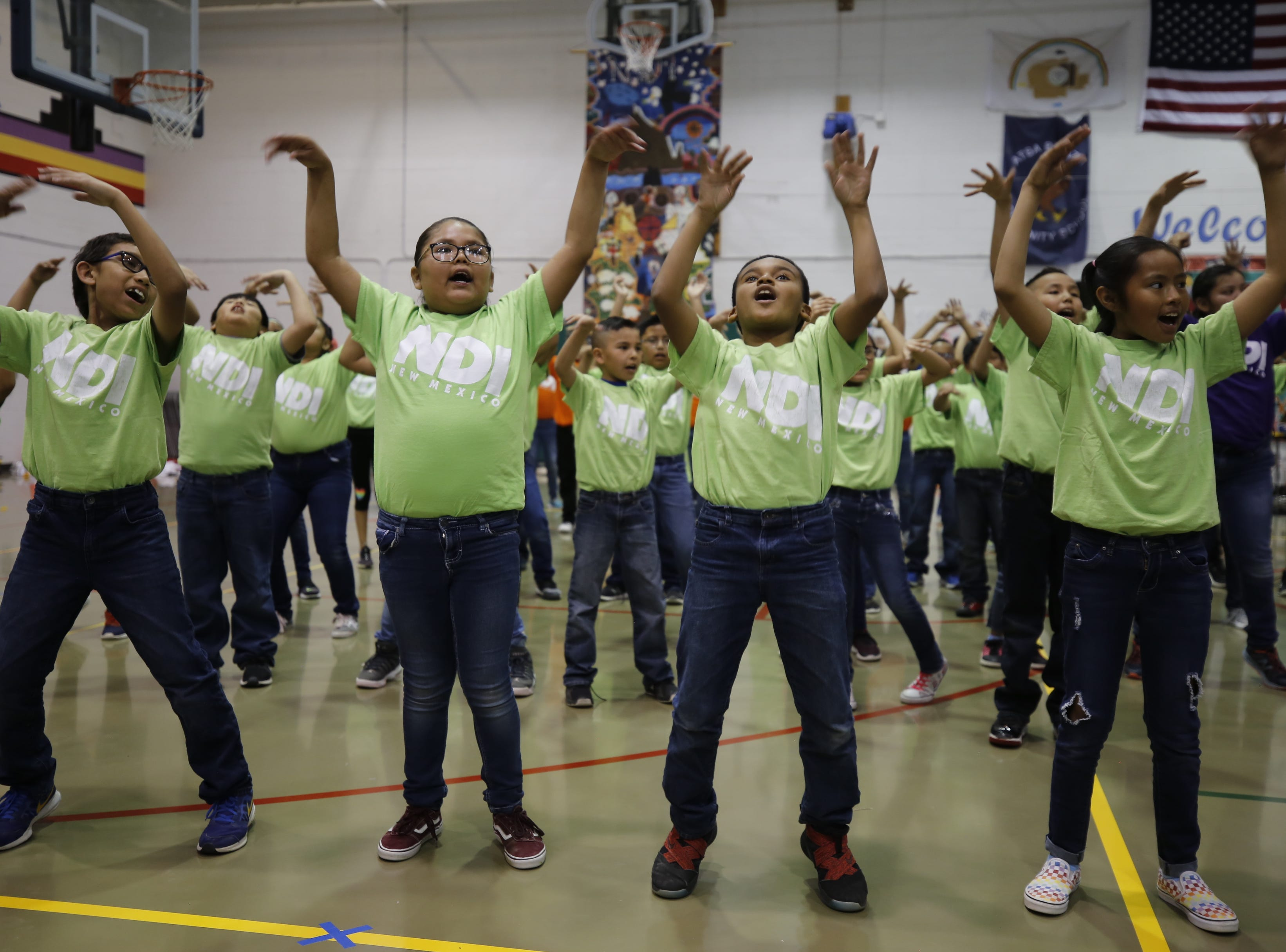 Atsá Biyáázh Community School students dance in a production that focuses on mathematics on Friday at the school in Shiprock.