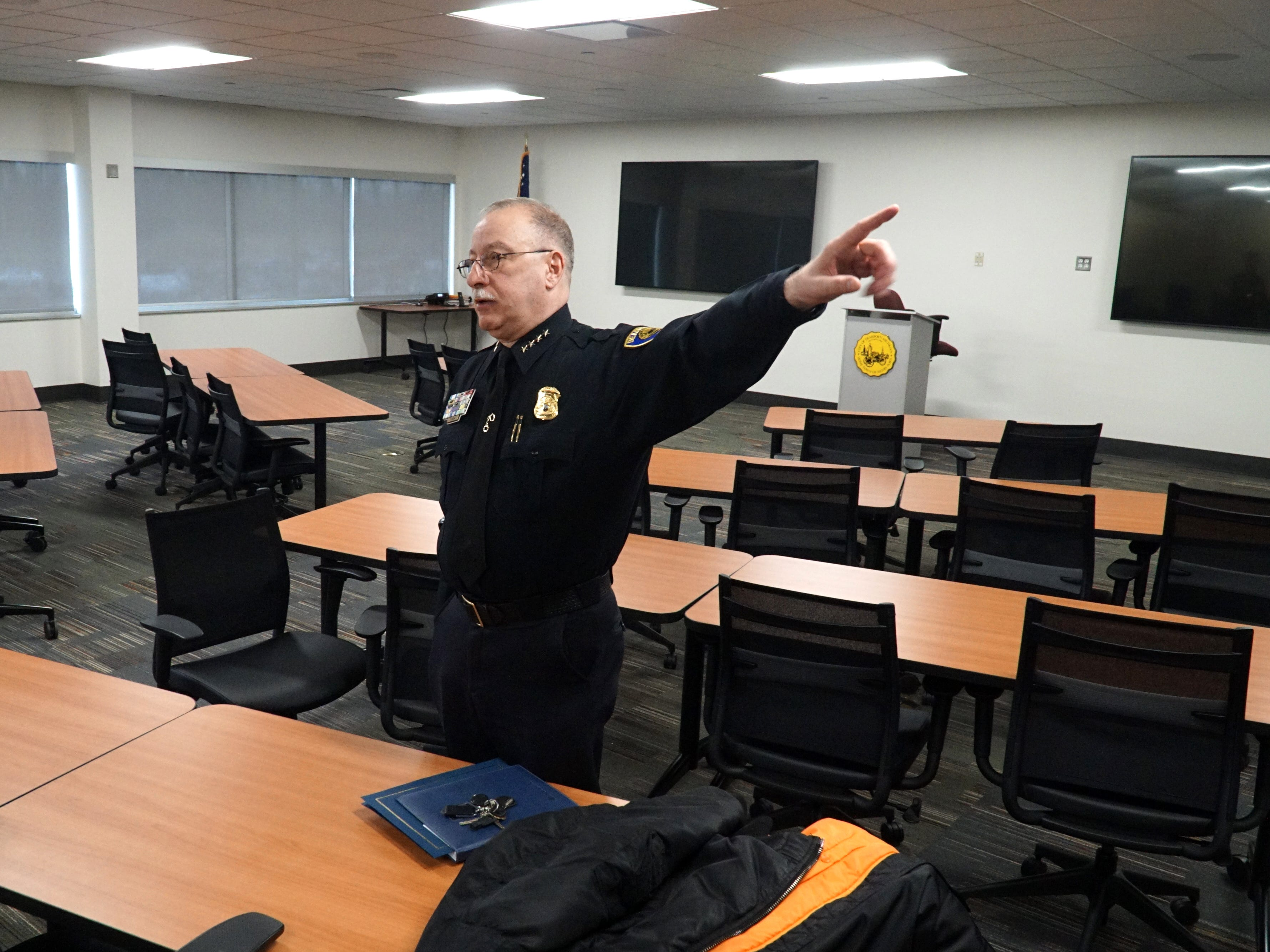 Dearborn Police Chief Ronald Haddad shows off his department's new Emergency Command Center - in its Administrative Center building on Michigan Avenue.