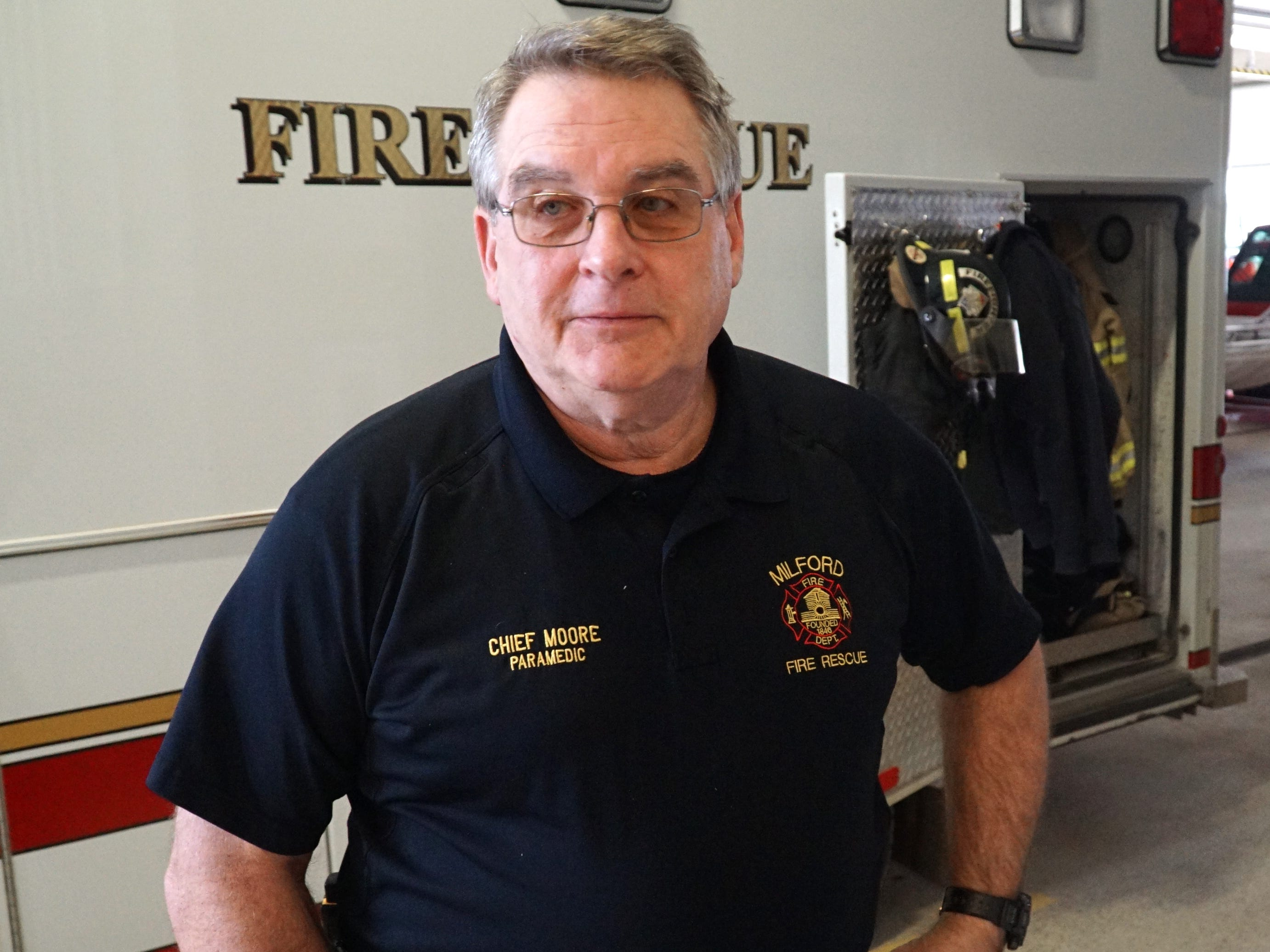 Milford Fire Chief Tom Moore in the bay of Fire Station #1 on West Huron.