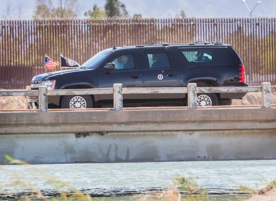 U.S. President Donald Trump arrives at the border wall (seen in background) that separates Mexico and the U.S. in Calexico California on Friday, April 5, 2019.